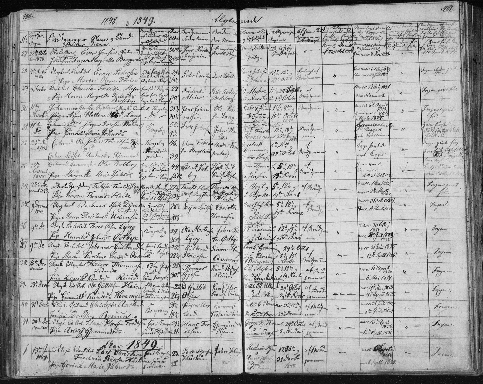SAKO, Kongsberg kirkebøker, F/Fa/L0009: Parish register (official) no. I 9, 1839-1858, p. 480-481