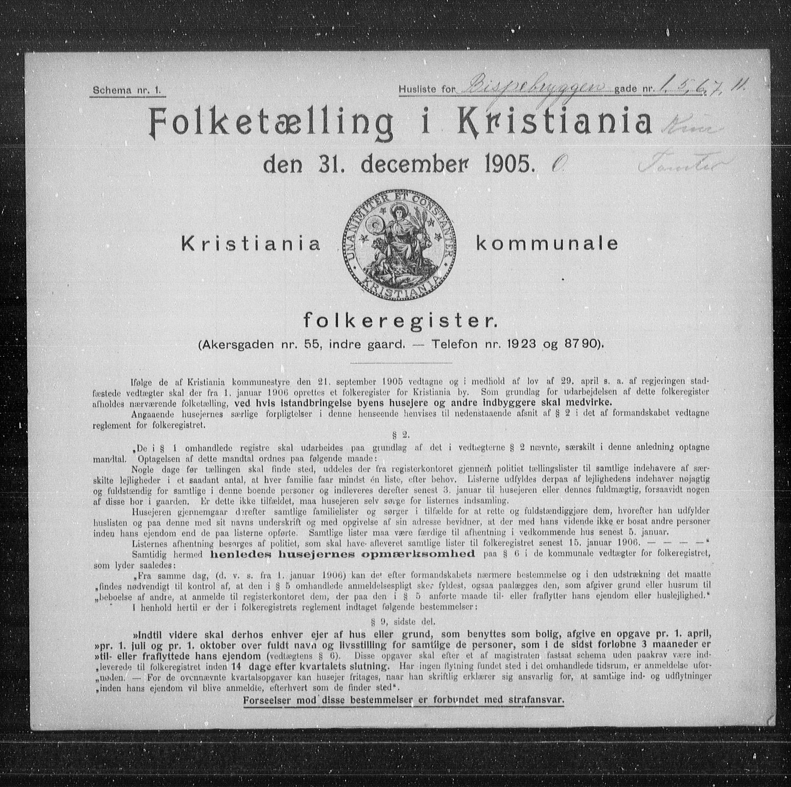 OBA, Municipal Census 1905 for Kristiania, 1905, p. 2508