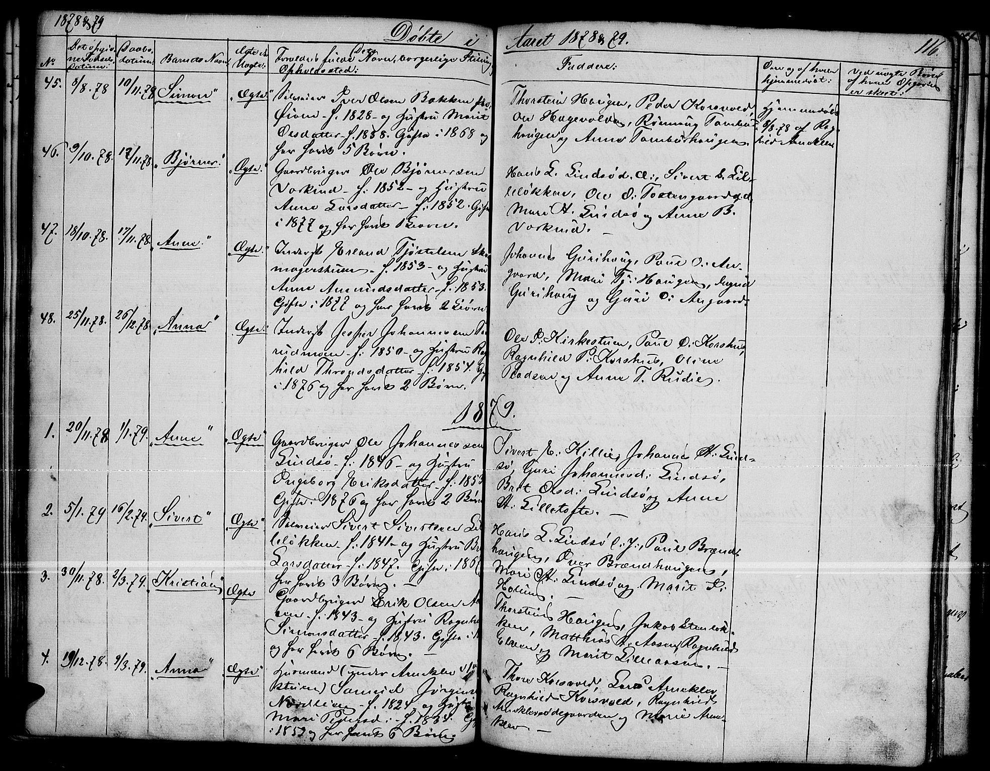 SAH, Dovre prestekontor, Parish register (copy) no. 1, 1862-1880, p. 116