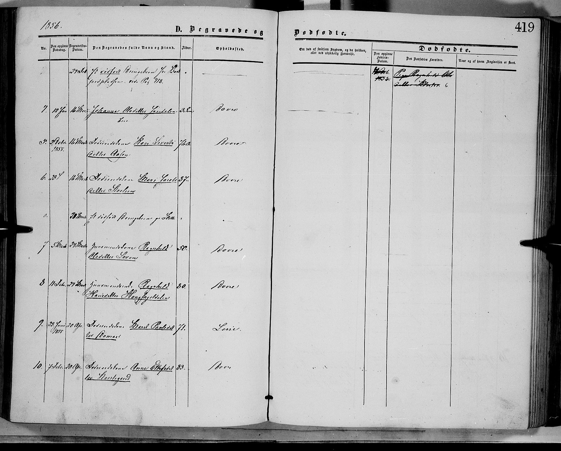 SAH, Dovre prestekontor, Parish register (official) no. 1, 1854-1878, p. 419
