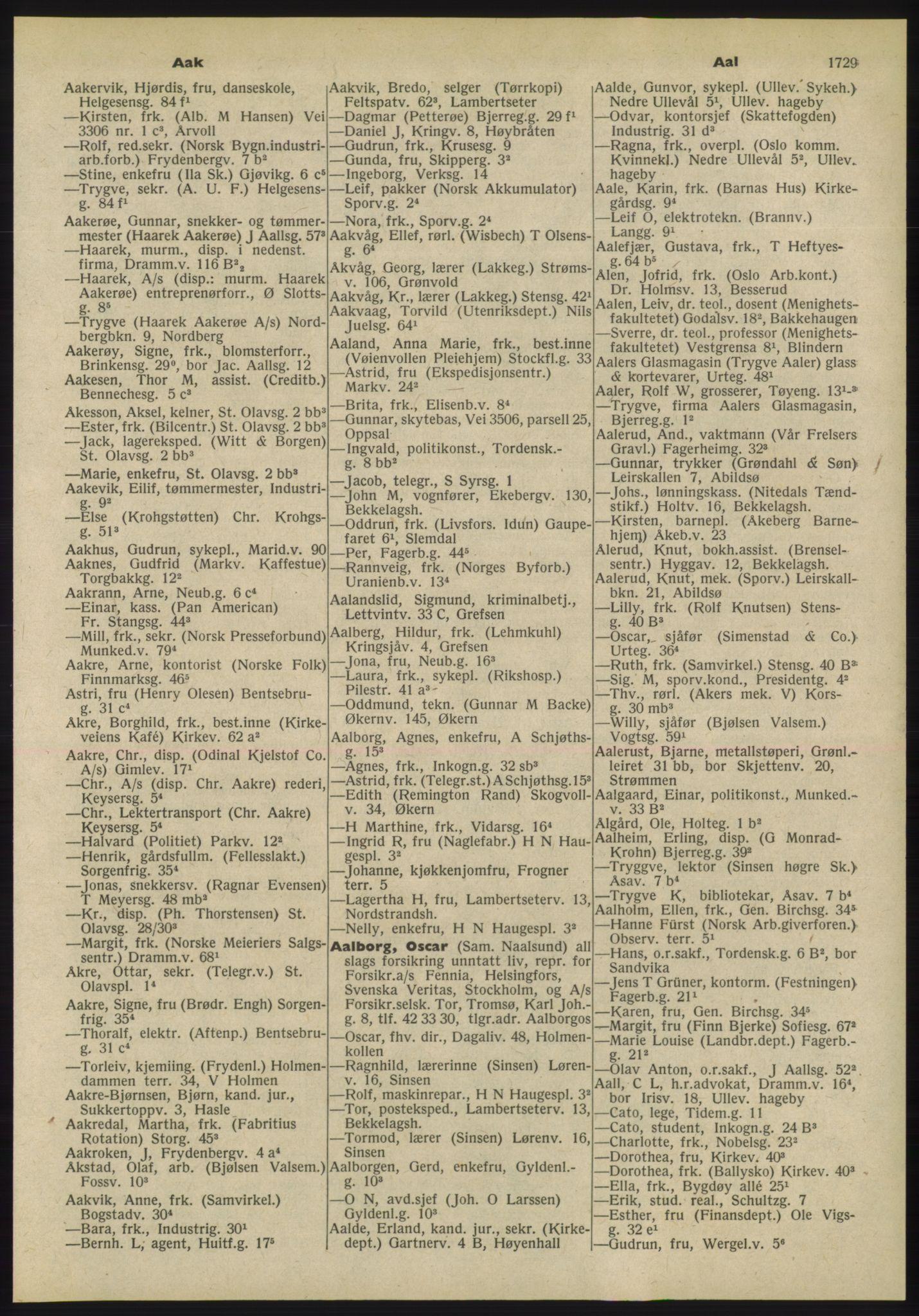 PUBL, Kristiania/Oslo adressebok, 1955, p. 1729