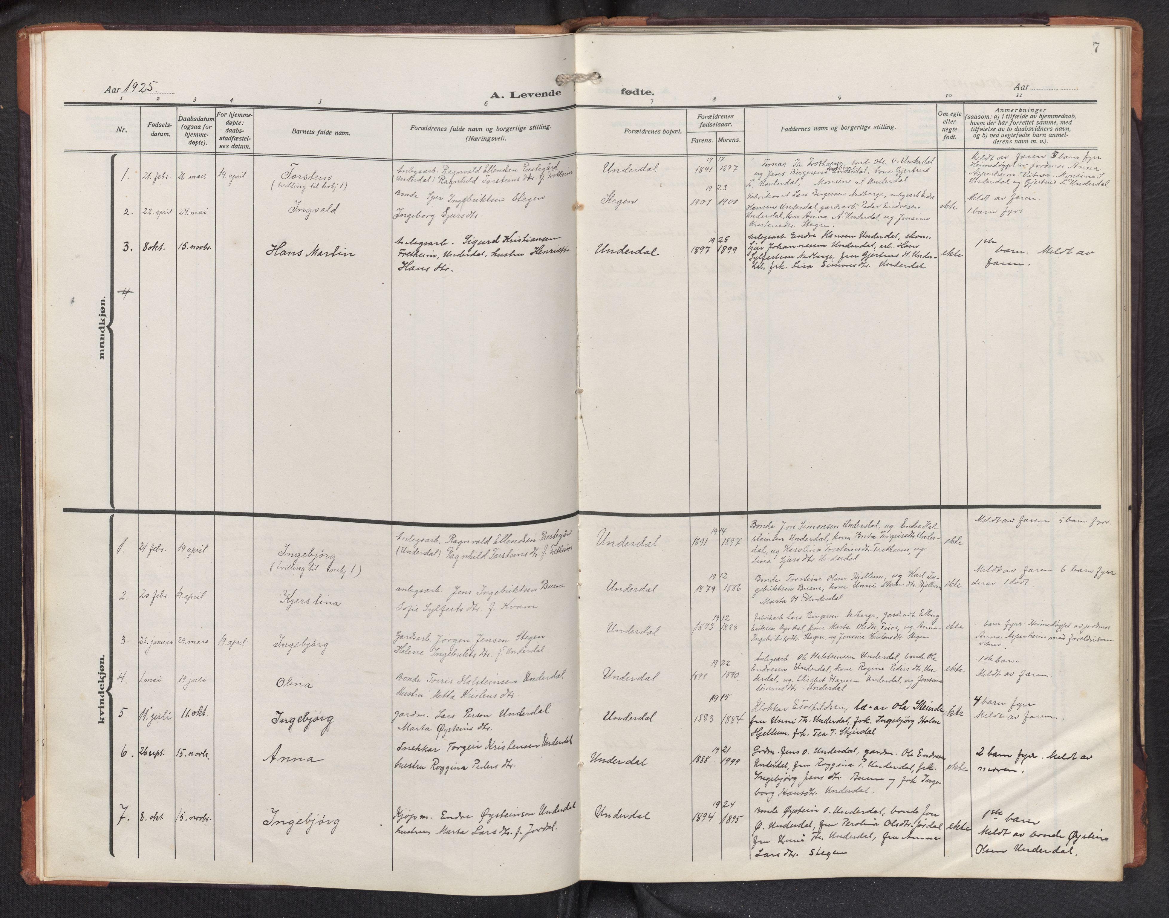 SAB, Aurland sokneprestembete, H/Hb/Hbd/L0003: Parish register (copy) no. D 3, 1920-1968, p. 6b-7a