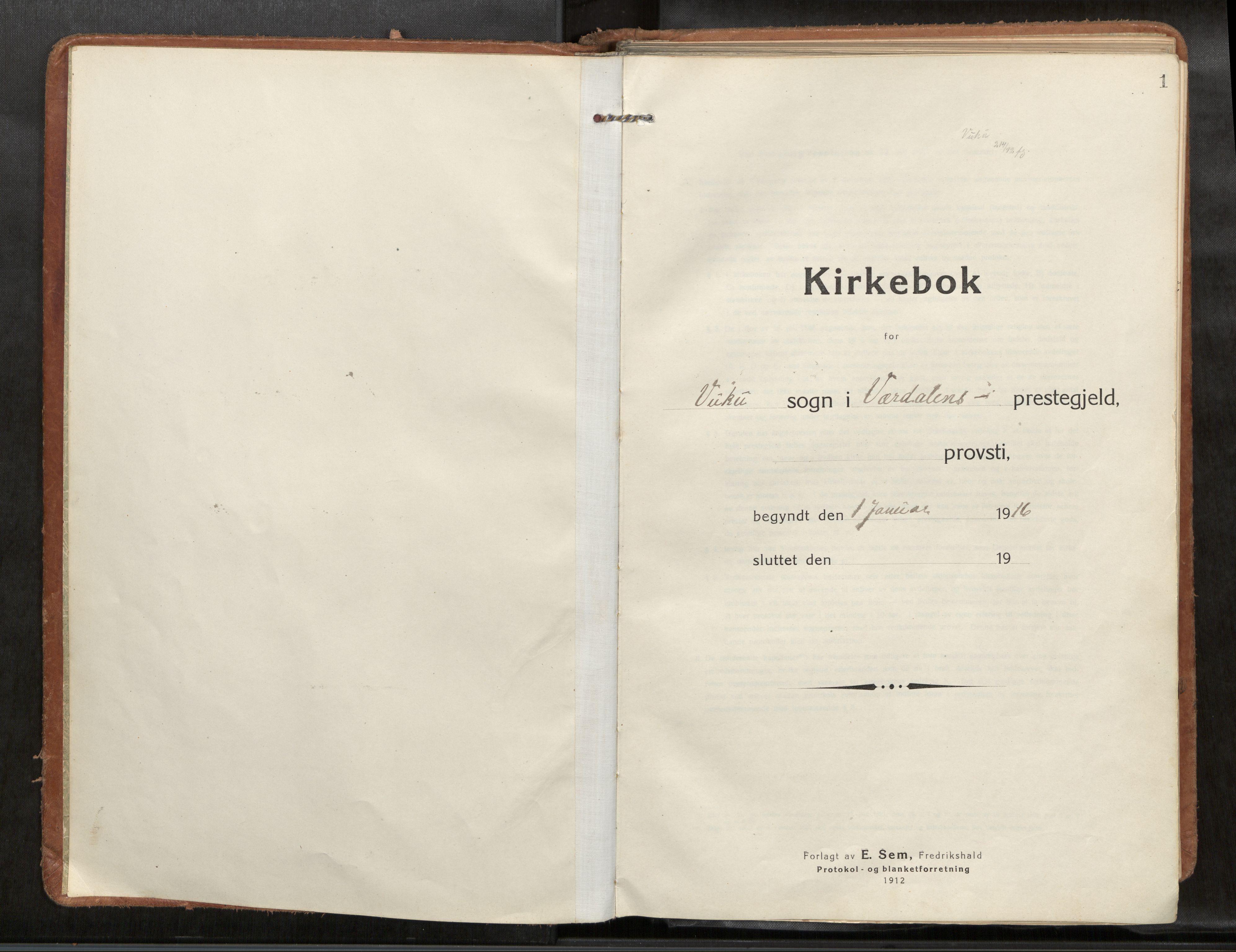 SAT, Verdal sokneprestkontor*, Parish register (official) no. 1, 1916-1928, p. 1