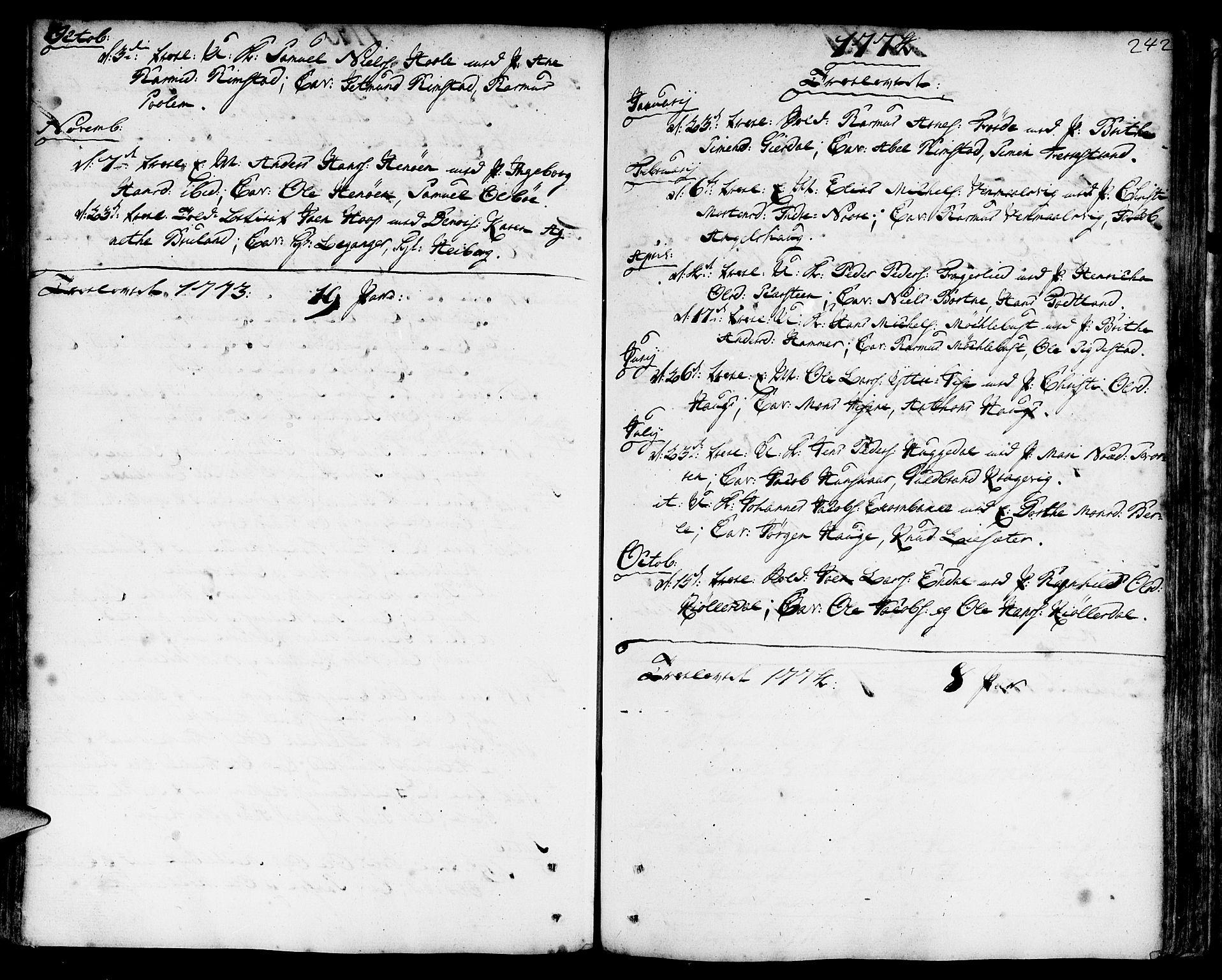 SAB, Davik Sokneprestembete, Parish register (official) no. A 2, 1742-1816, p. 242