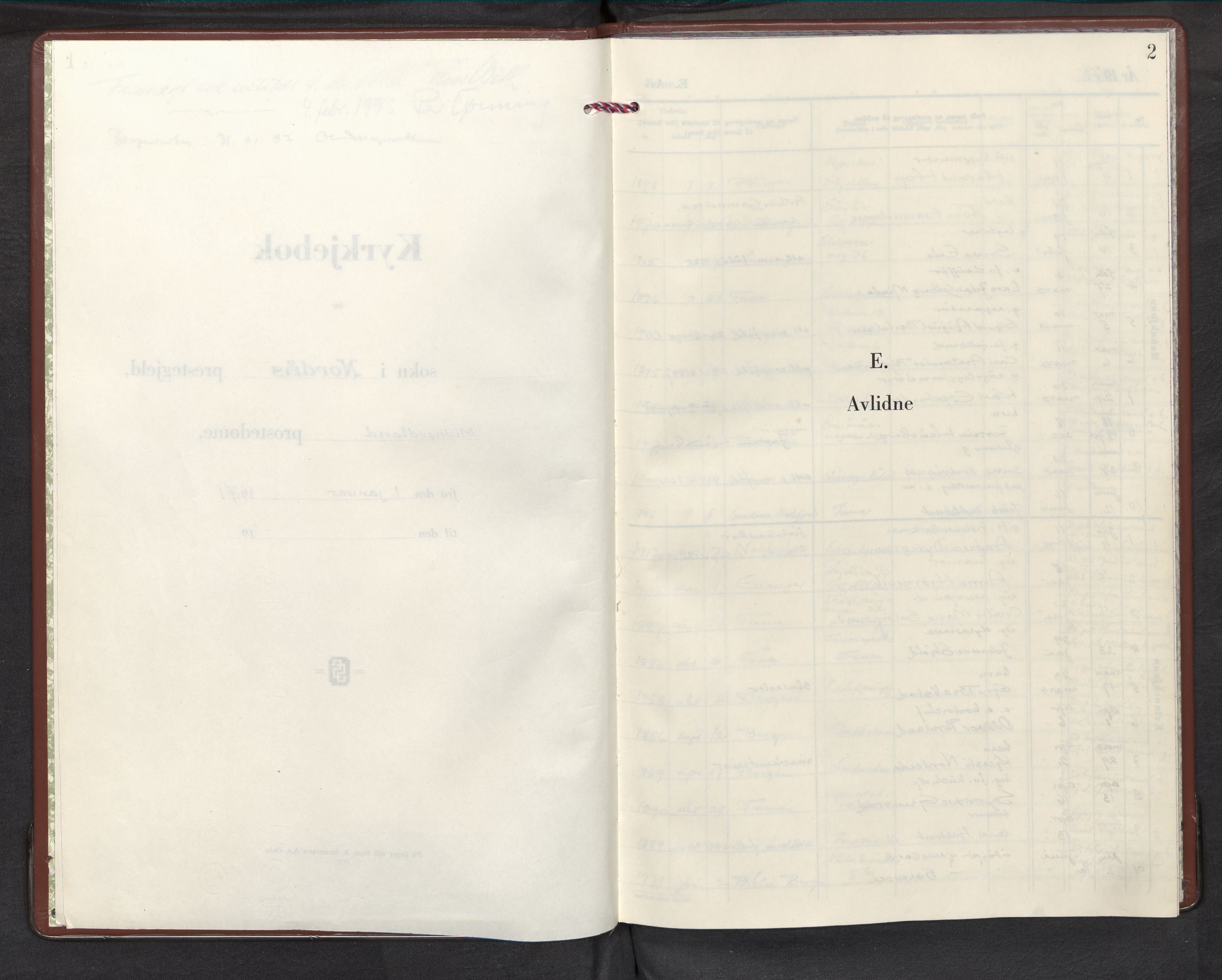 SAB, Nordås sokneprestembete, Parish register (official) no. D 1, 1971-1998, p. 2