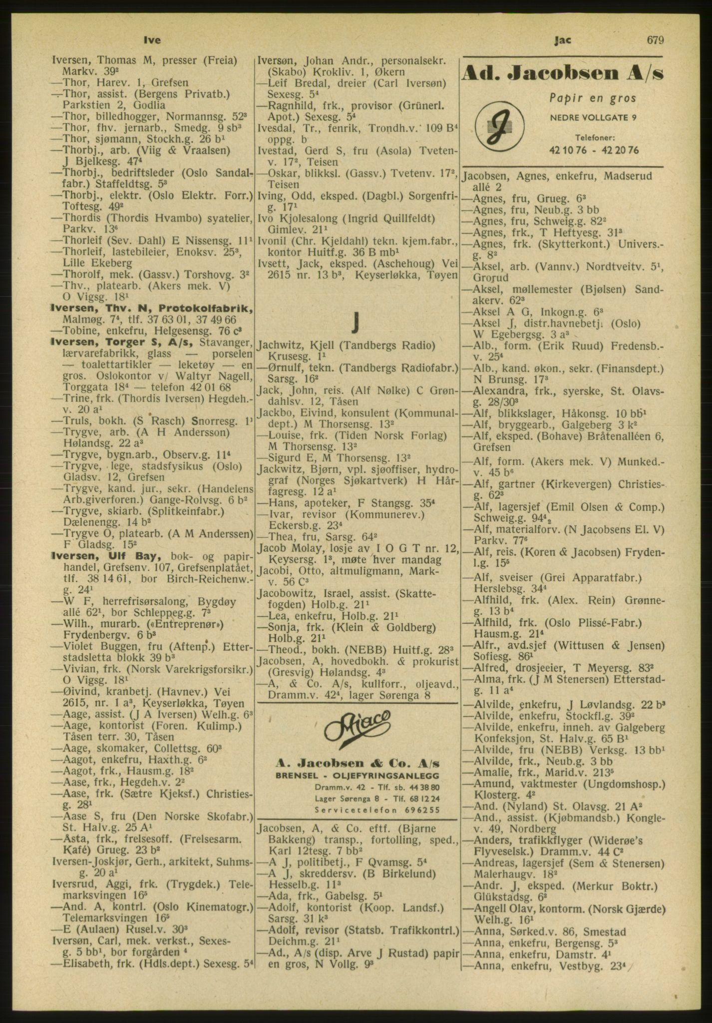 PUBL, Kristiania/Oslo adressebok, 1952, p. 679