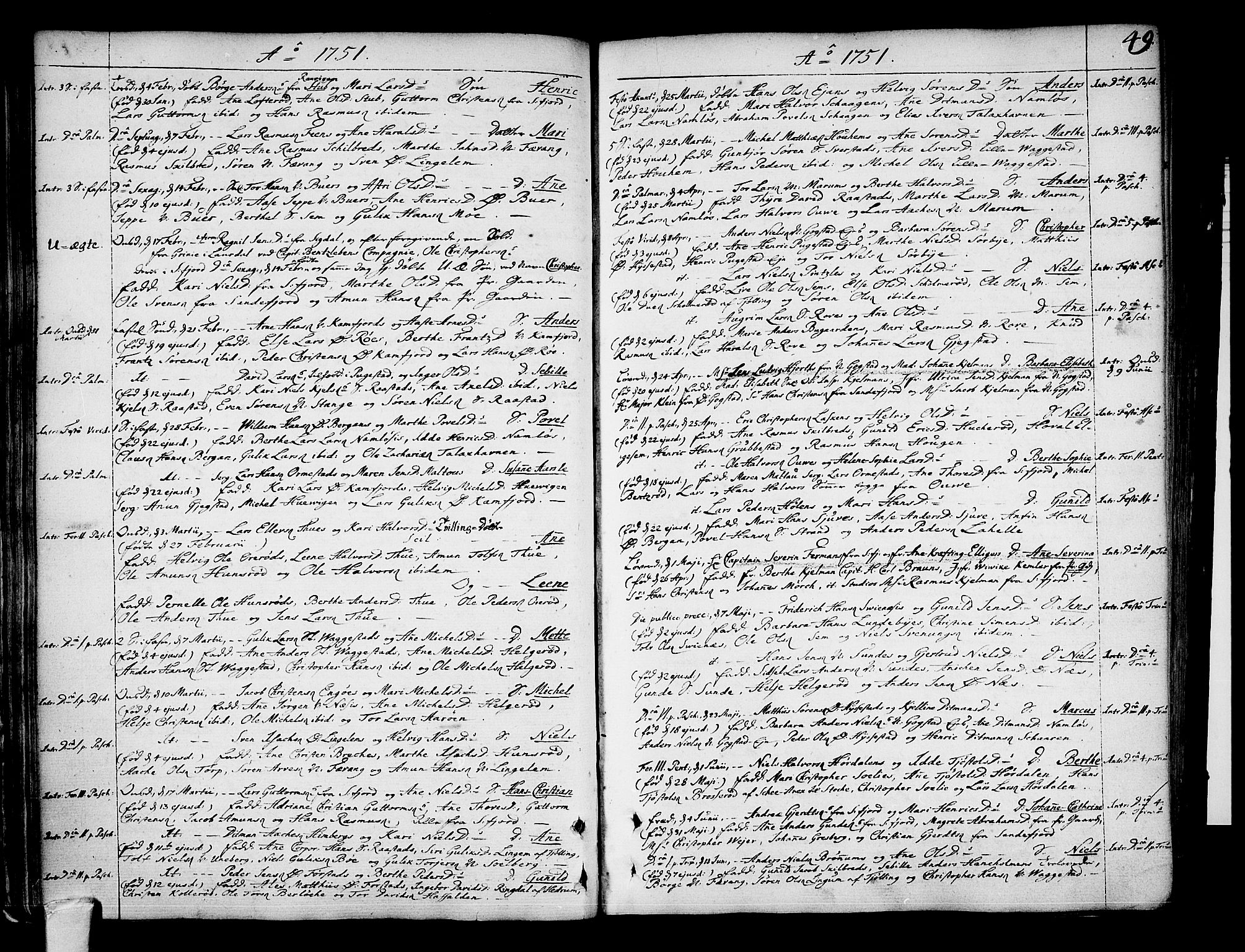SAKO, Sandar kirkebøker, F/Fa/L0002: Parish register (official) no. 2, 1733-1788, p. 49