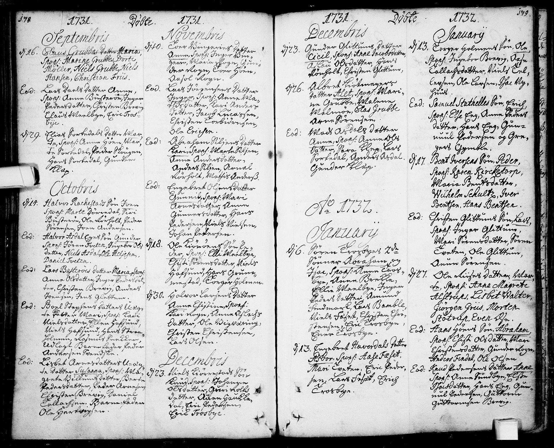 SAKO, Bamble kirkebøker, F/Fa/L0001: Parish register (official) no. I 1, 1702-1774, p. 178-179