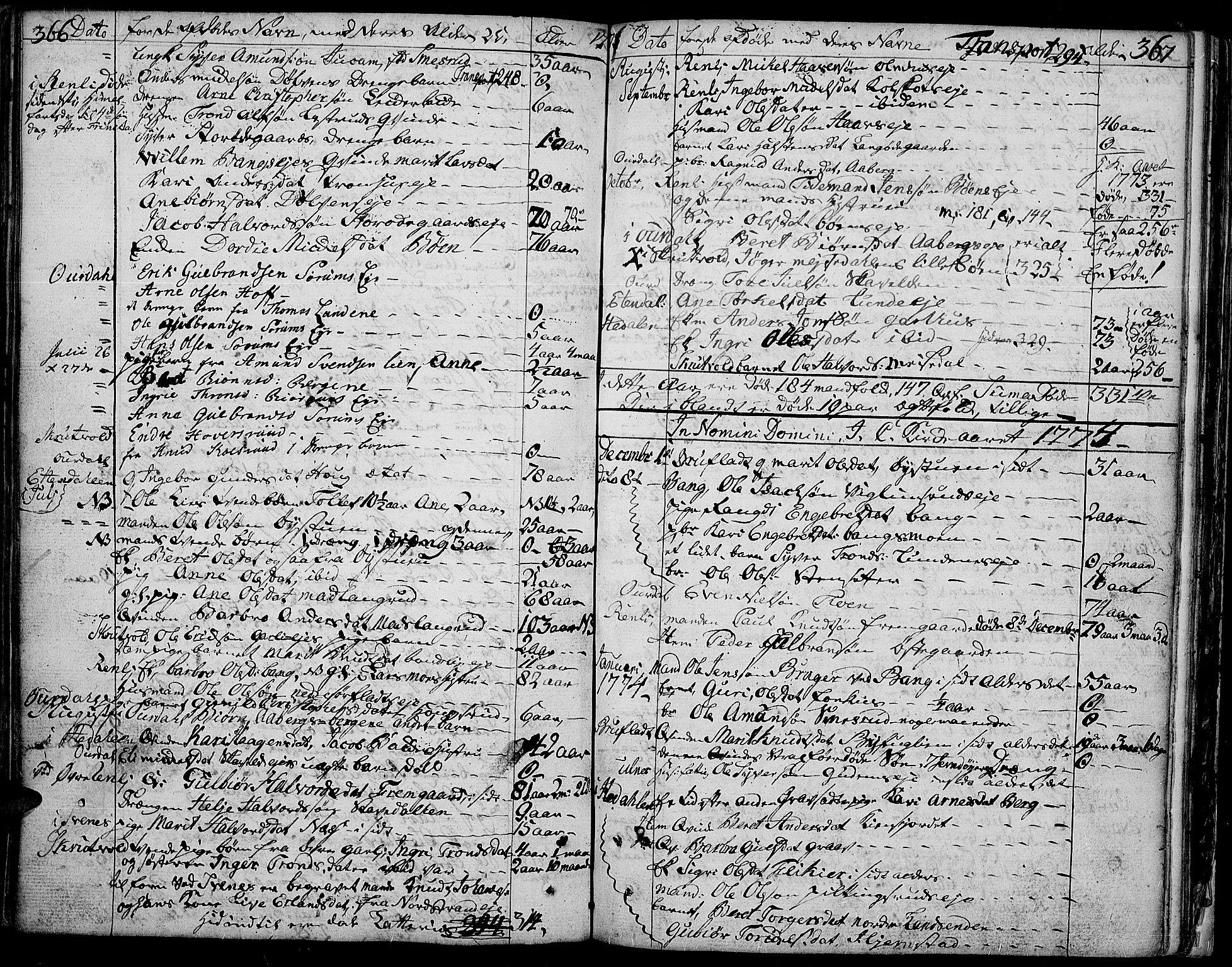 SAH, Aurdal prestekontor, Parish register (official) no. 5, 1763-1781, p. 366-367