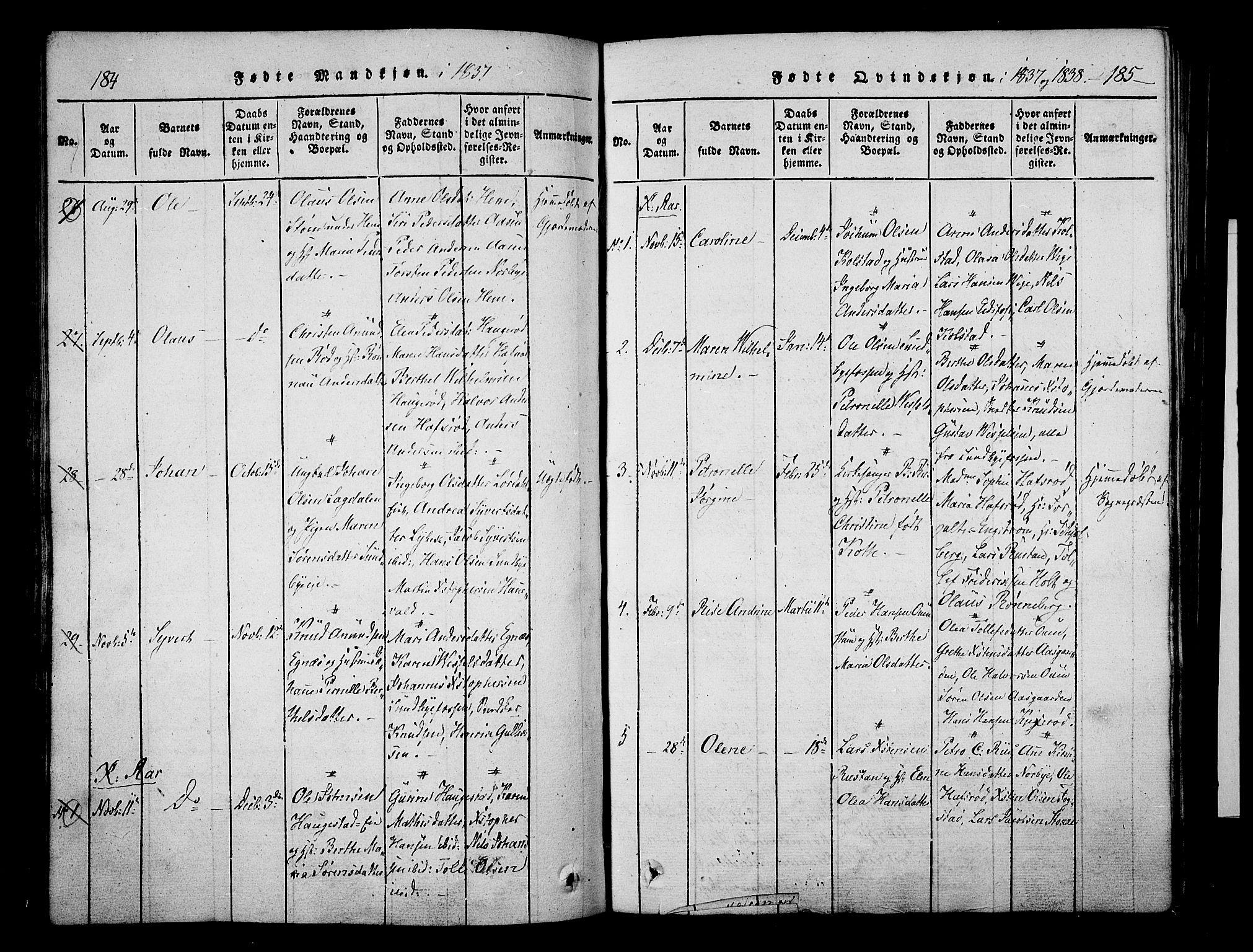 SAKO, Hof kirkebøker, F/Fa/L0004: Parish register (official) no. I 4, 1814-1843, p. 184-185