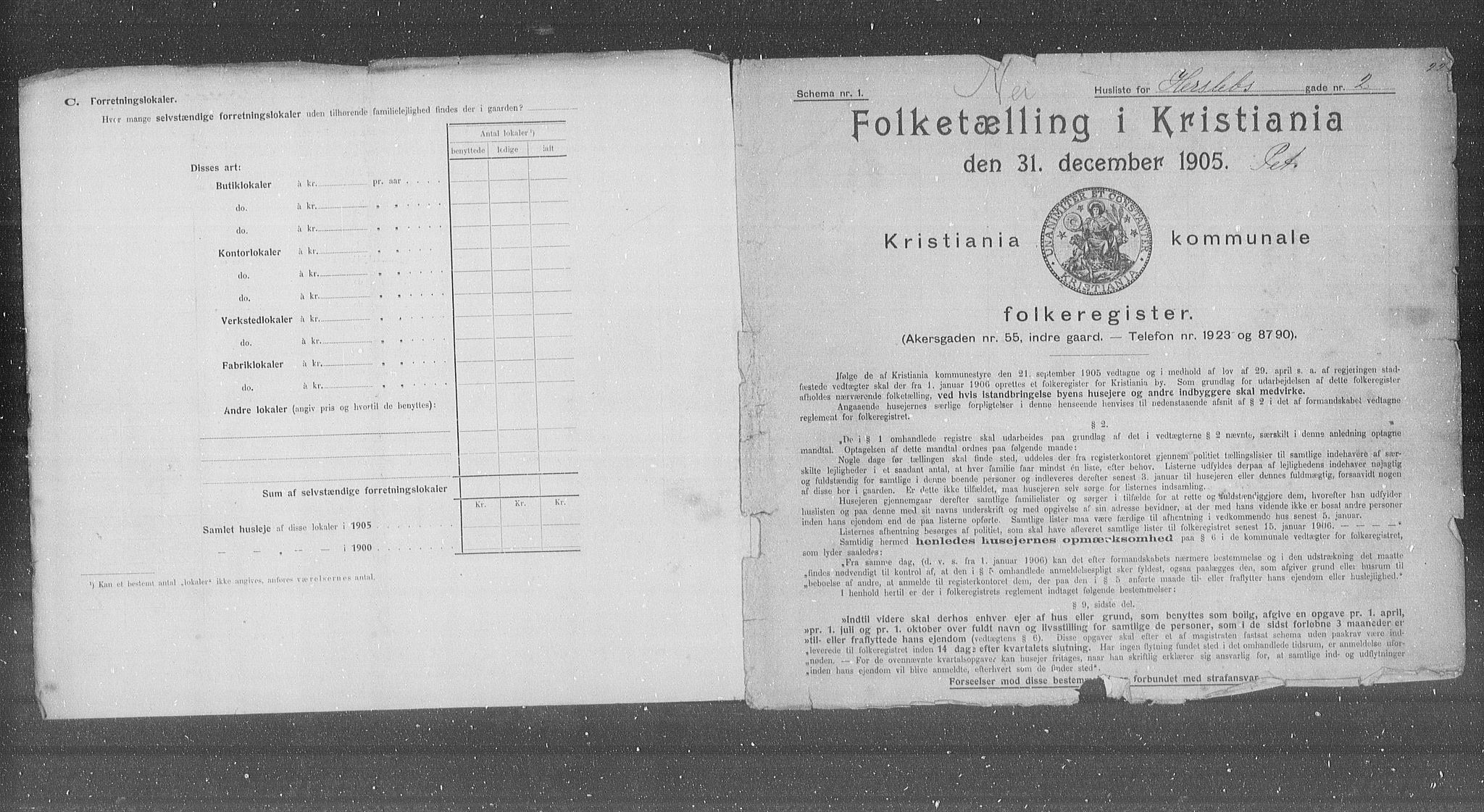 OBA, Municipal Census 1905 for Kristiania, 1905, p. 20299