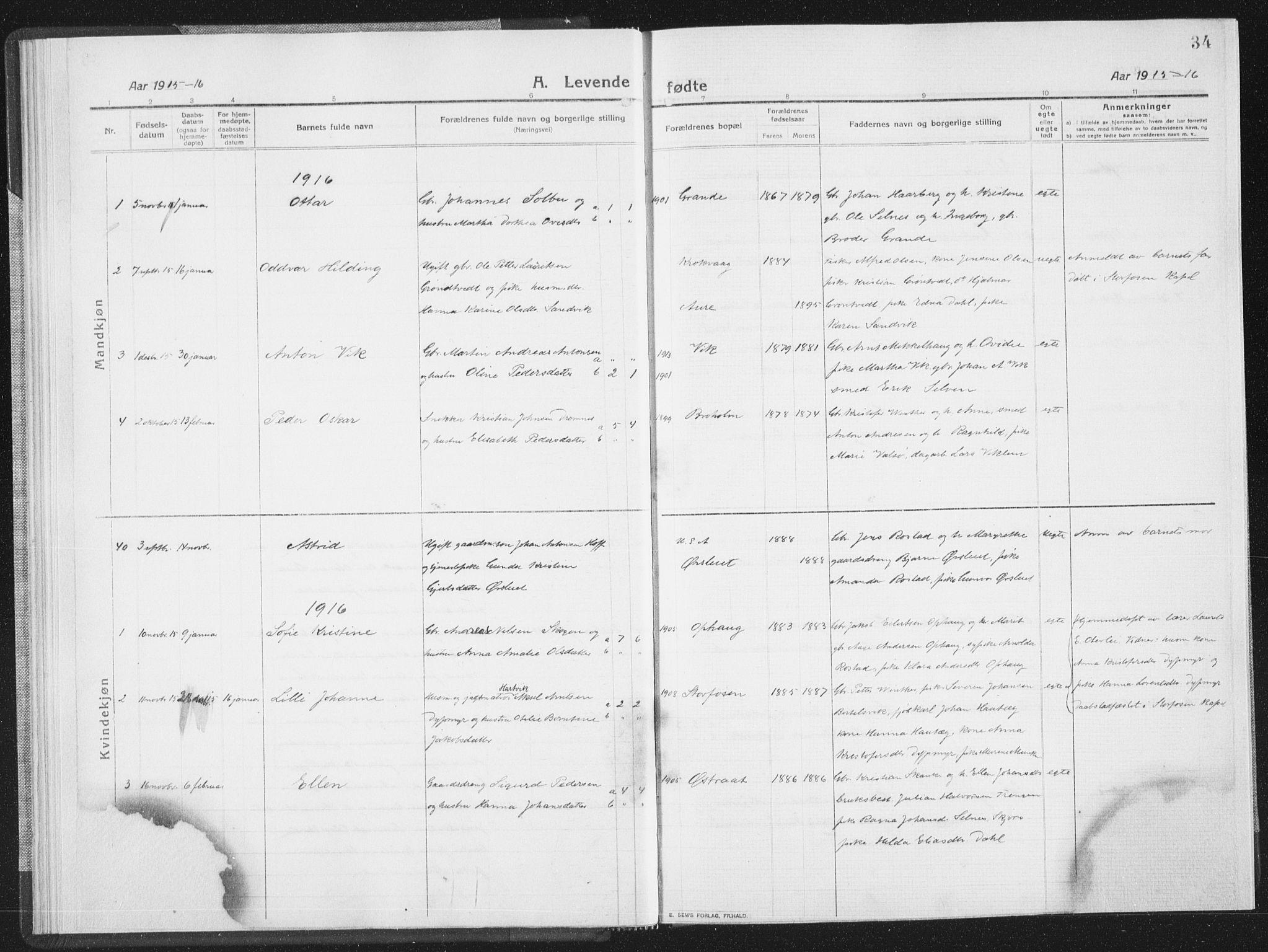SAT, Ministerialprotokoller, klokkerbøker og fødselsregistre - Sør-Trøndelag, 659/L0747: Parish register (copy) no. 659C04, 1913-1938, p. 34