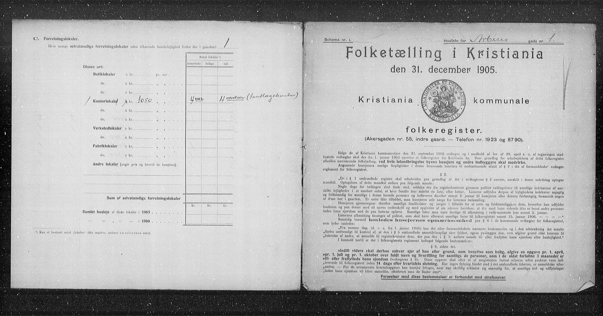 OBA, Municipal Census 1905 for Kristiania, 1905, p. 818