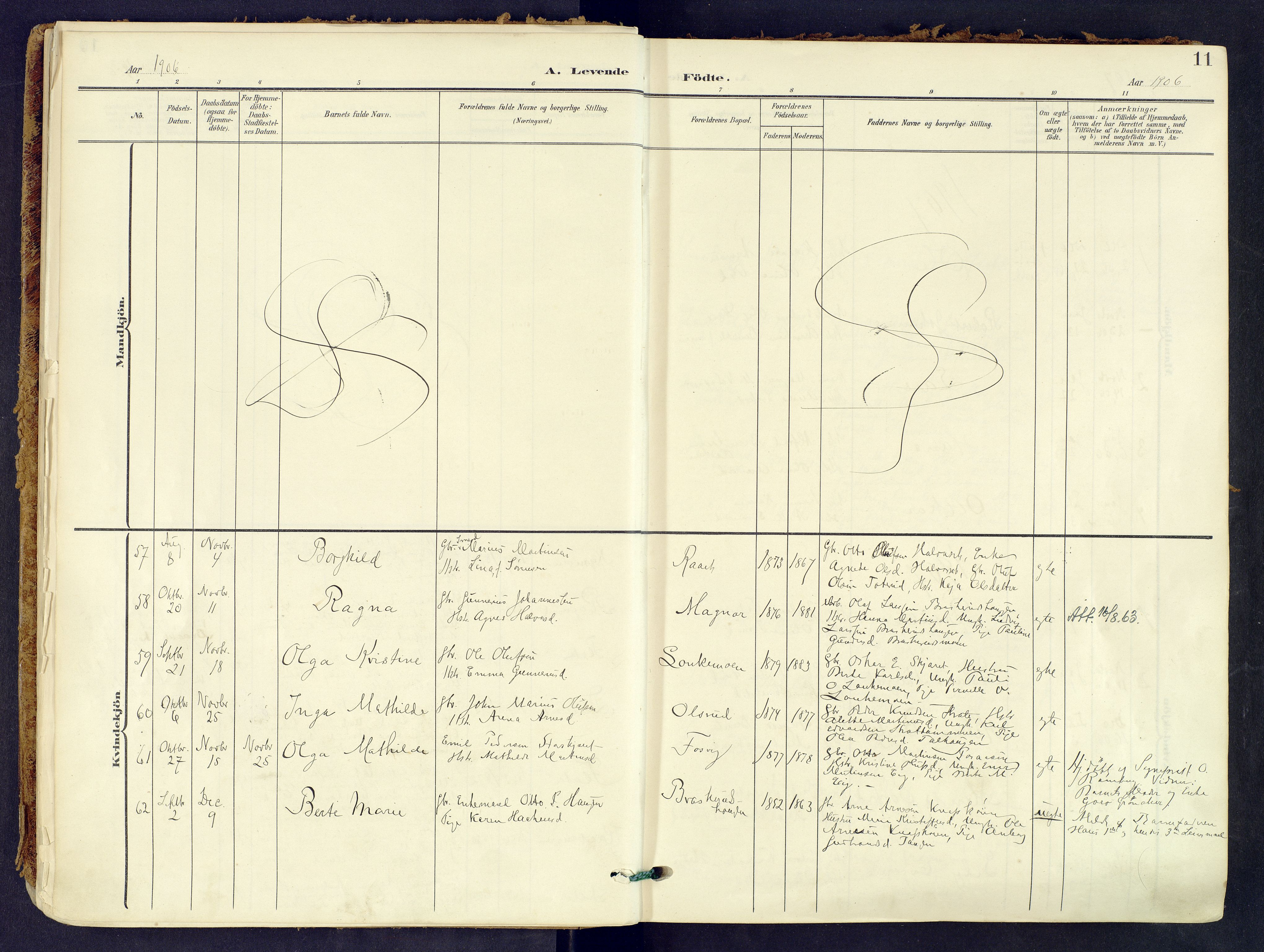 SAH, Våler prestekontor, Hedmark, Parish register (official) no. 8, 1905-1921, p. 11