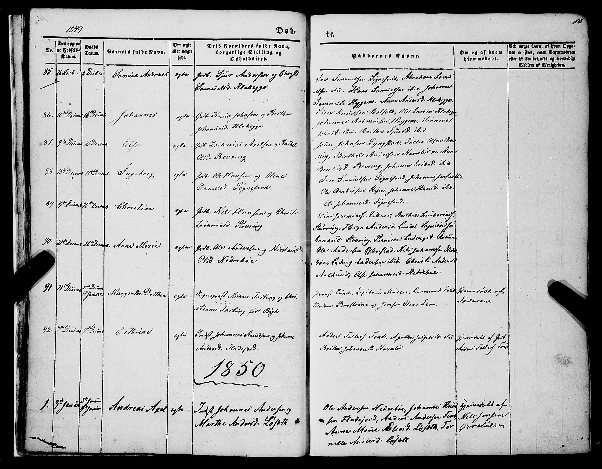 SAB, Jølster sokneprestembete, H/Haa/Haaa/L0010: Parish register (official) no. A 10, 1847-1865, p. 13