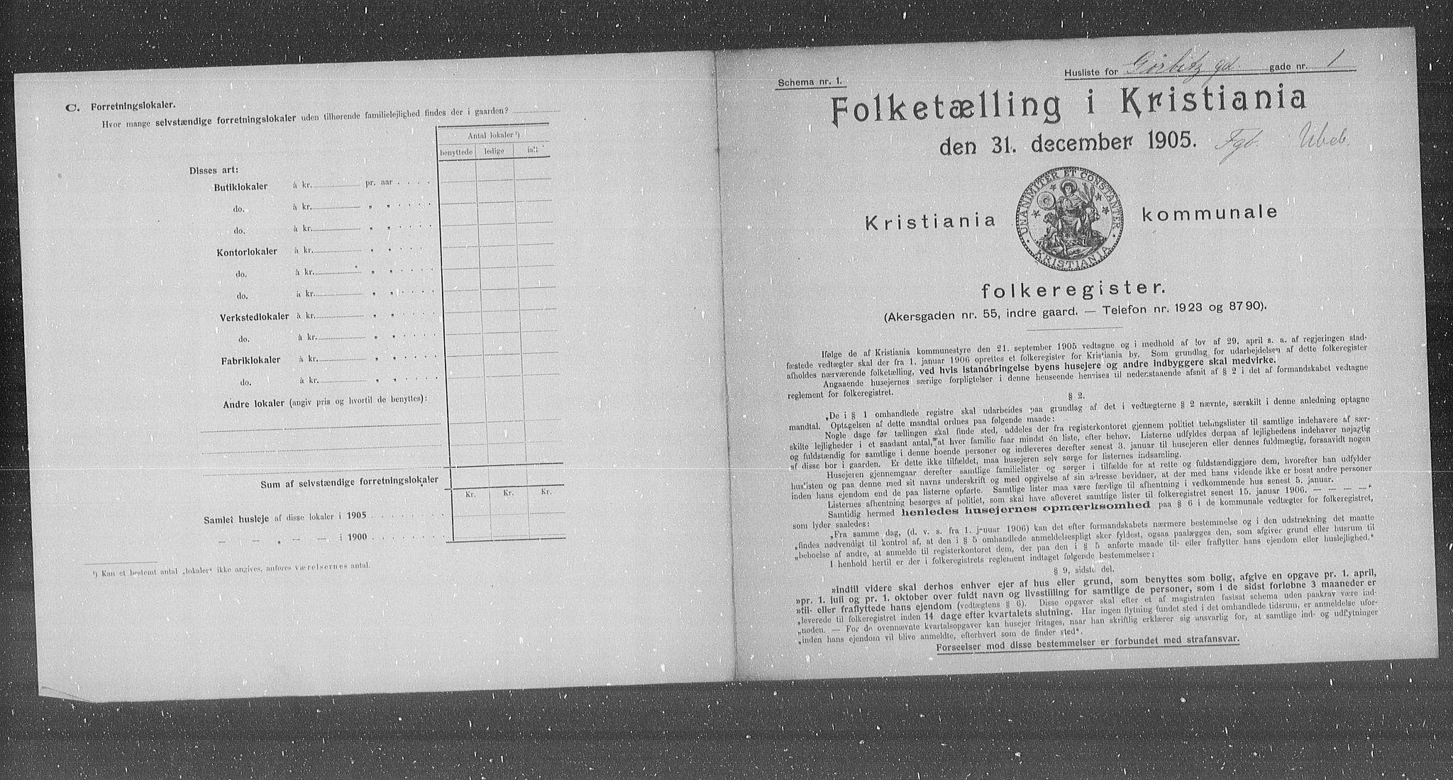 OBA, Municipal Census 1905 for Kristiania, 1905, p. 17183