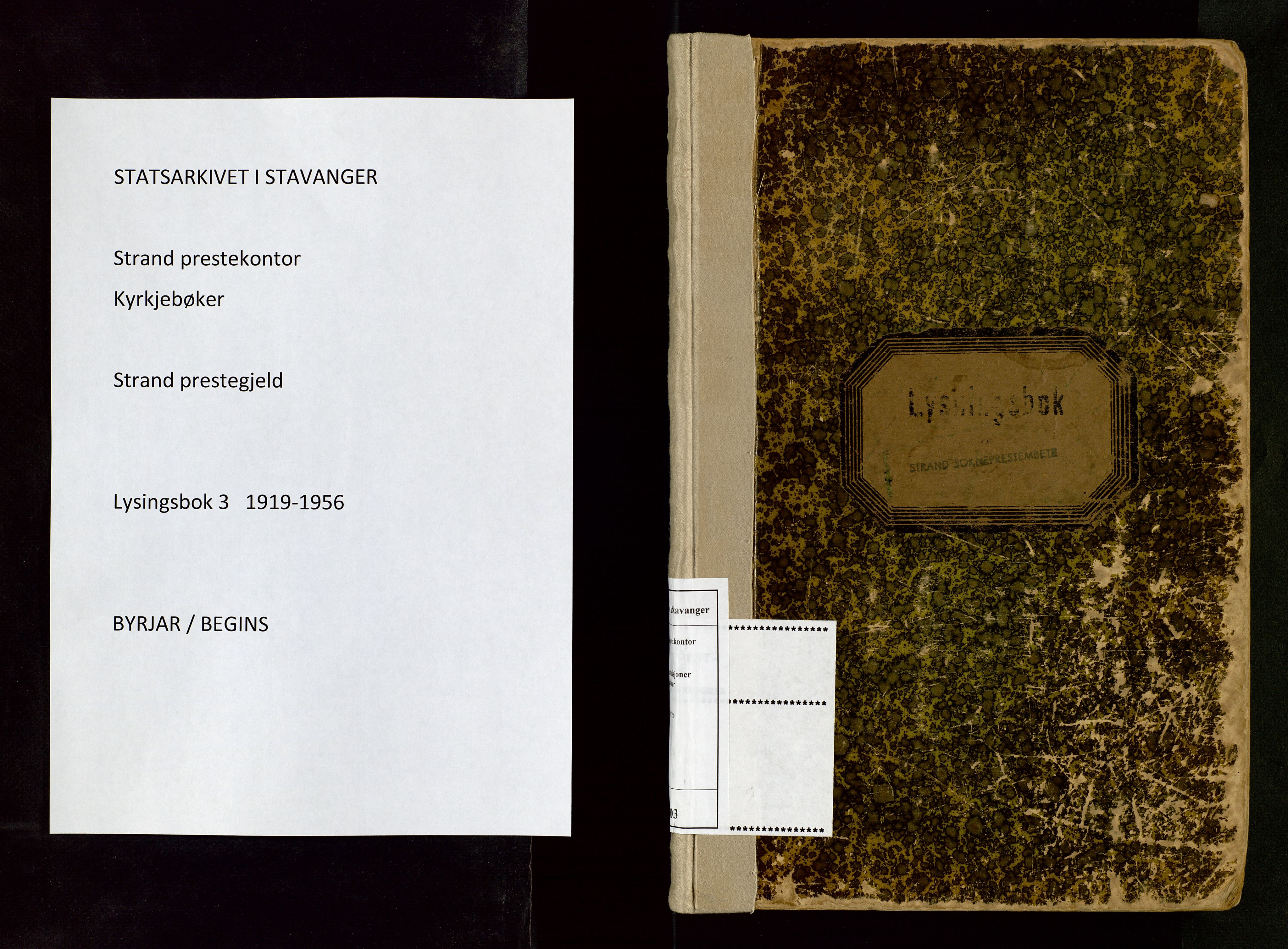 SAST, Strand sokneprestkontor, I/Ie/L0003: Banns register no. 3, 1919-1956