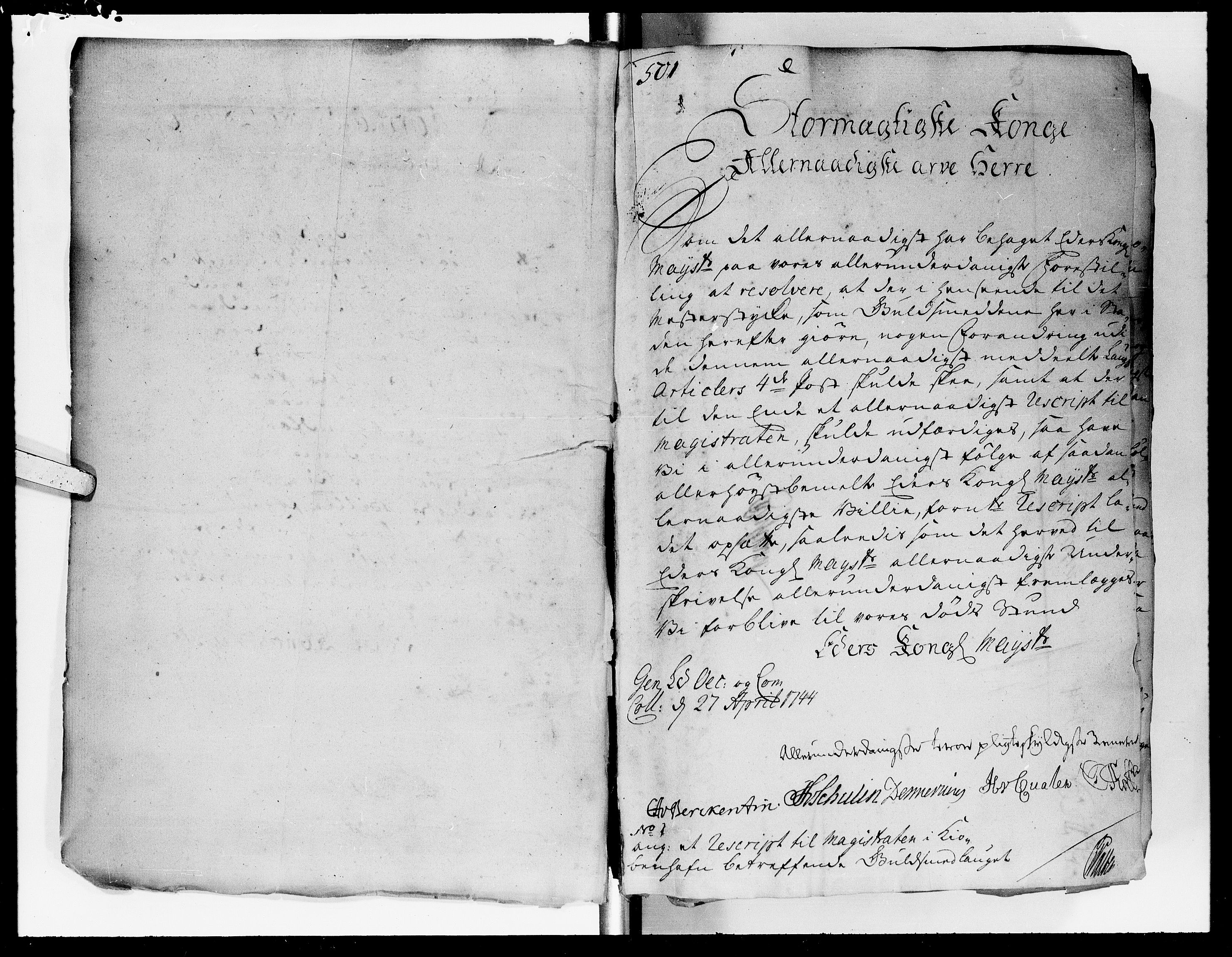 DRA, Kommercekollegiet, Dansk-Norske Sekretariat (1736-1771) / Kommercedeputationen (1771-1773), -/006: Forestillinger, 1744-1746