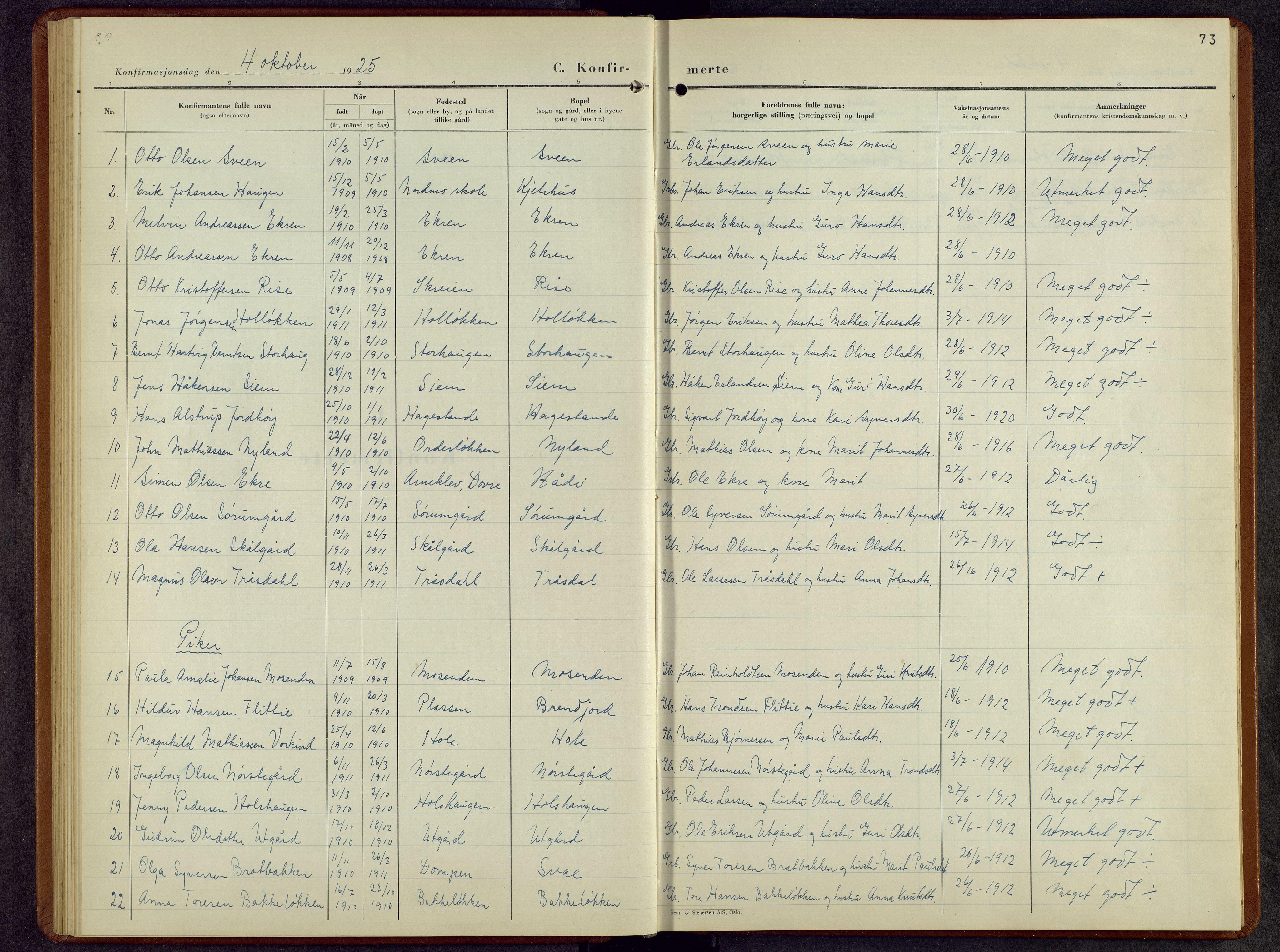 SAH, Lesja prestekontor, Parish register (copy) no. 10, 1925-1960, p. 73