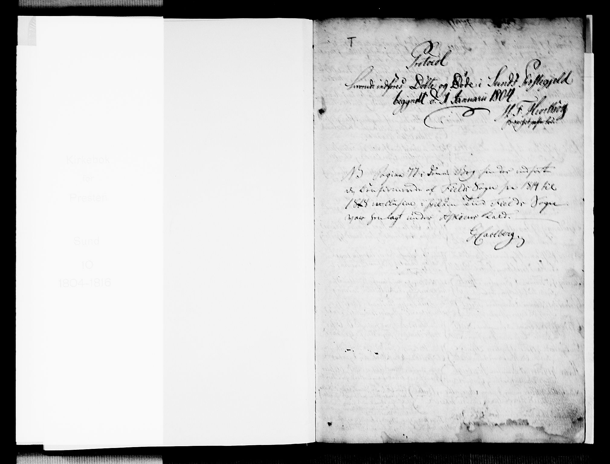 SAB, Sund sokneprestembete, Parish register (official) no. A 10, 1804-1818, p. 0-1