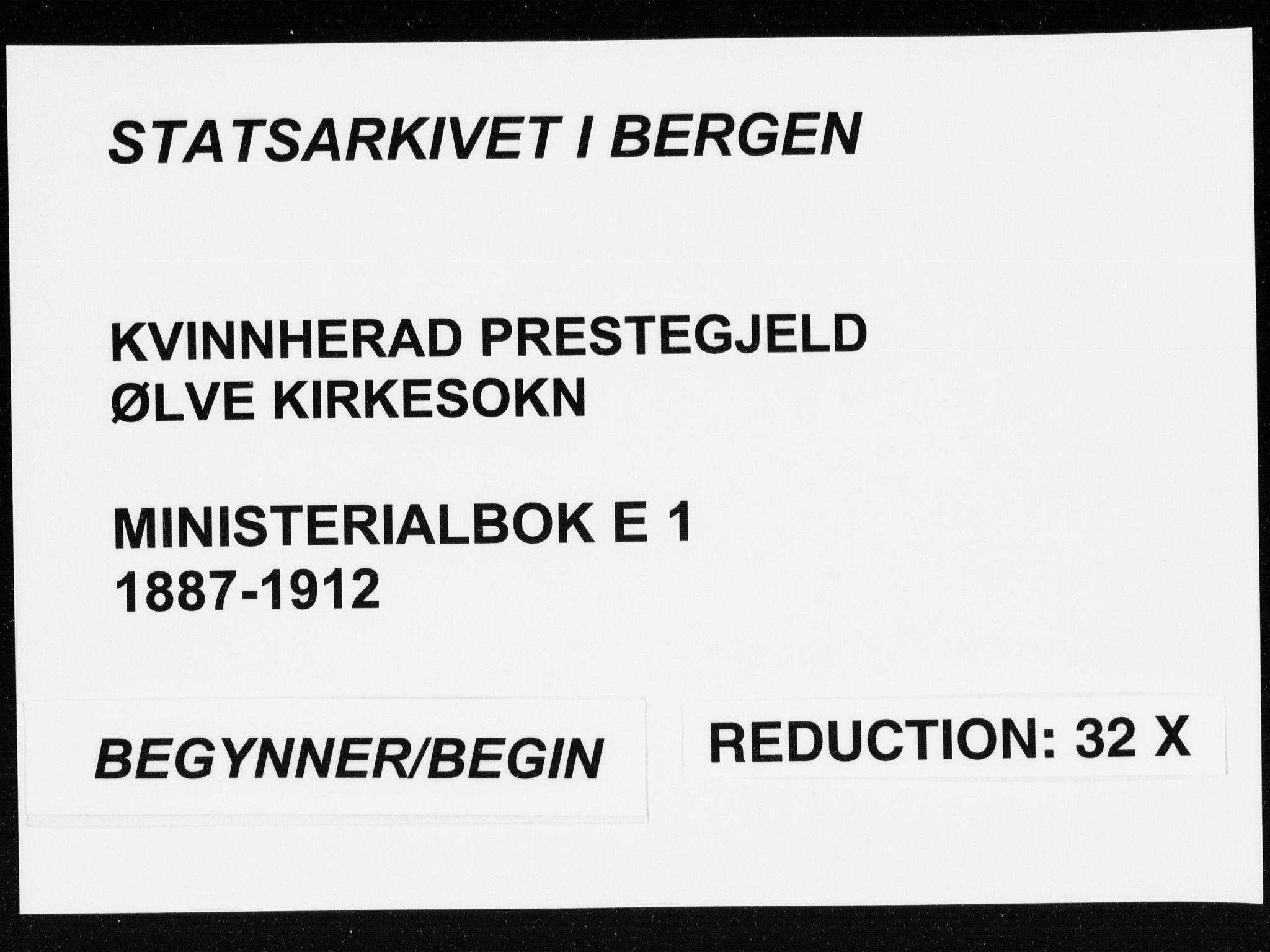 SAB, Kvinnherad Sokneprestembete, H/Haa: Parish register (official) no. E 1, 1887-1912