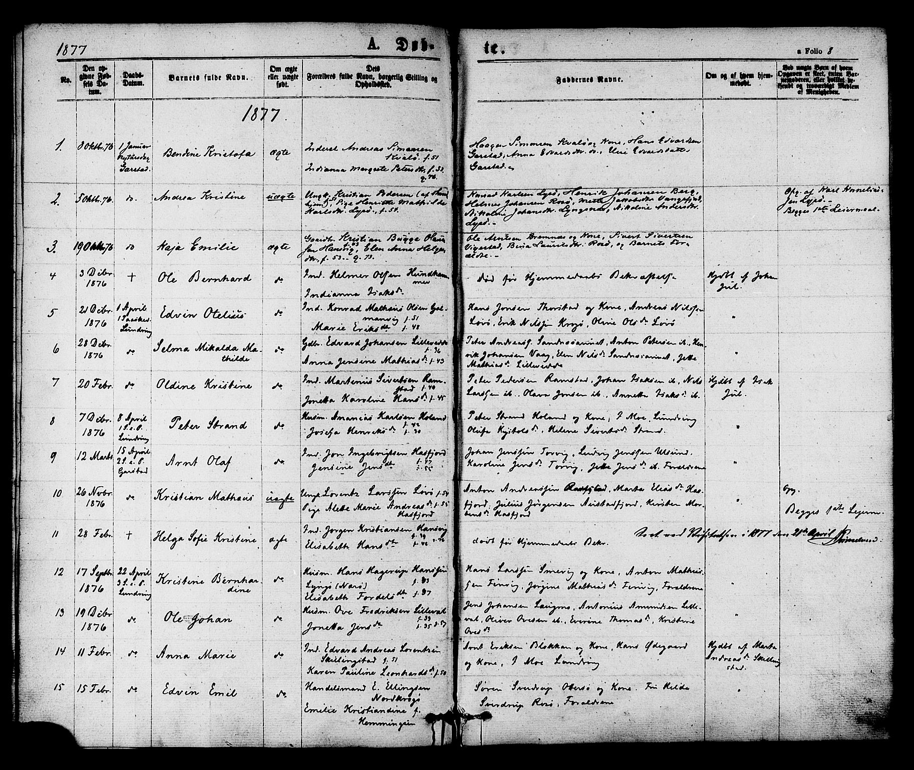 SAT, Ministerialprotokoller, klokkerbøker og fødselsregistre - Nord-Trøndelag, 784/L0671: Parish register (official) no. 784A06, 1876-1879, p. 8