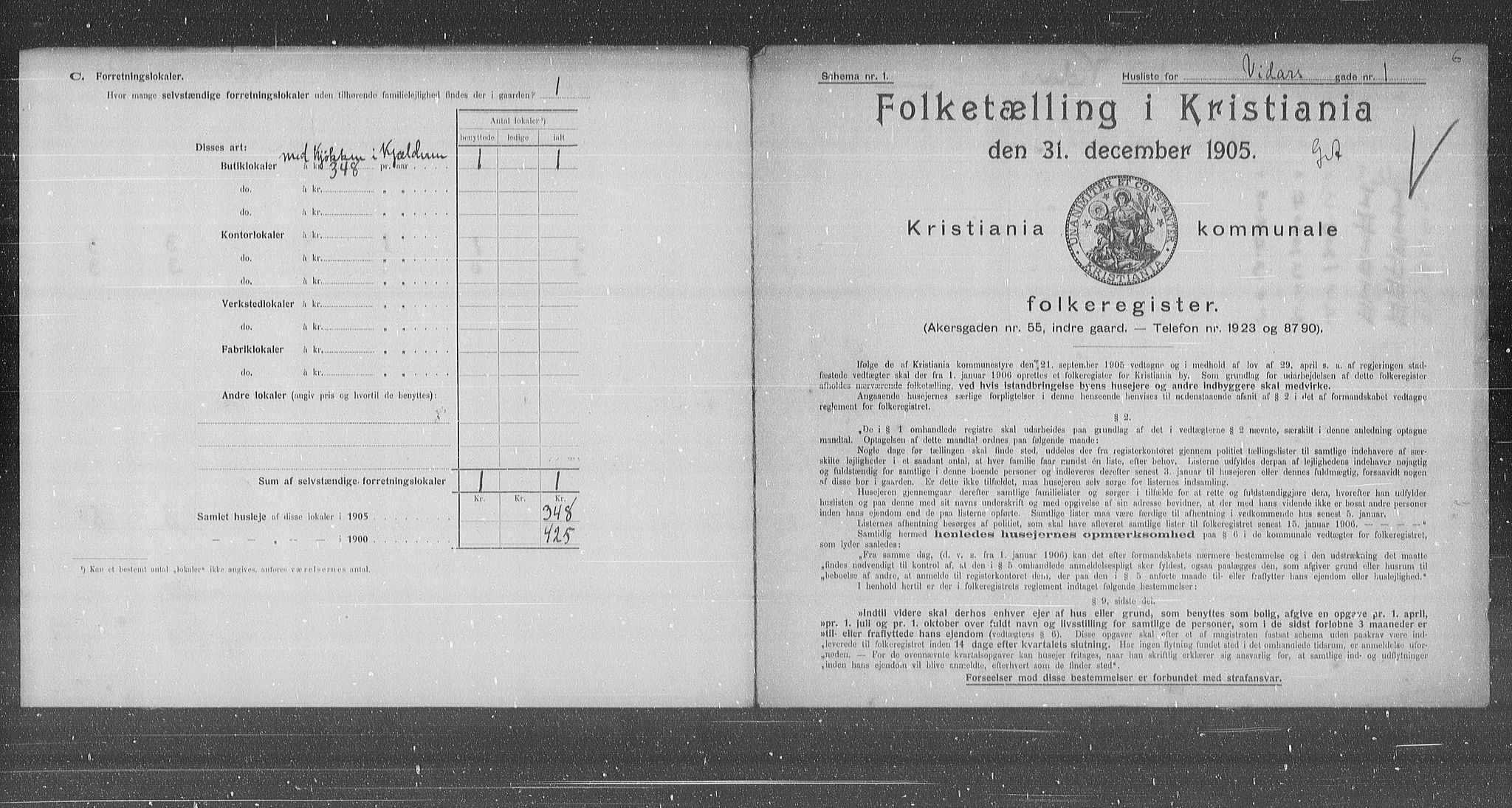 OBA, Municipal Census 1905 for Kristiania, 1905, p. 65168