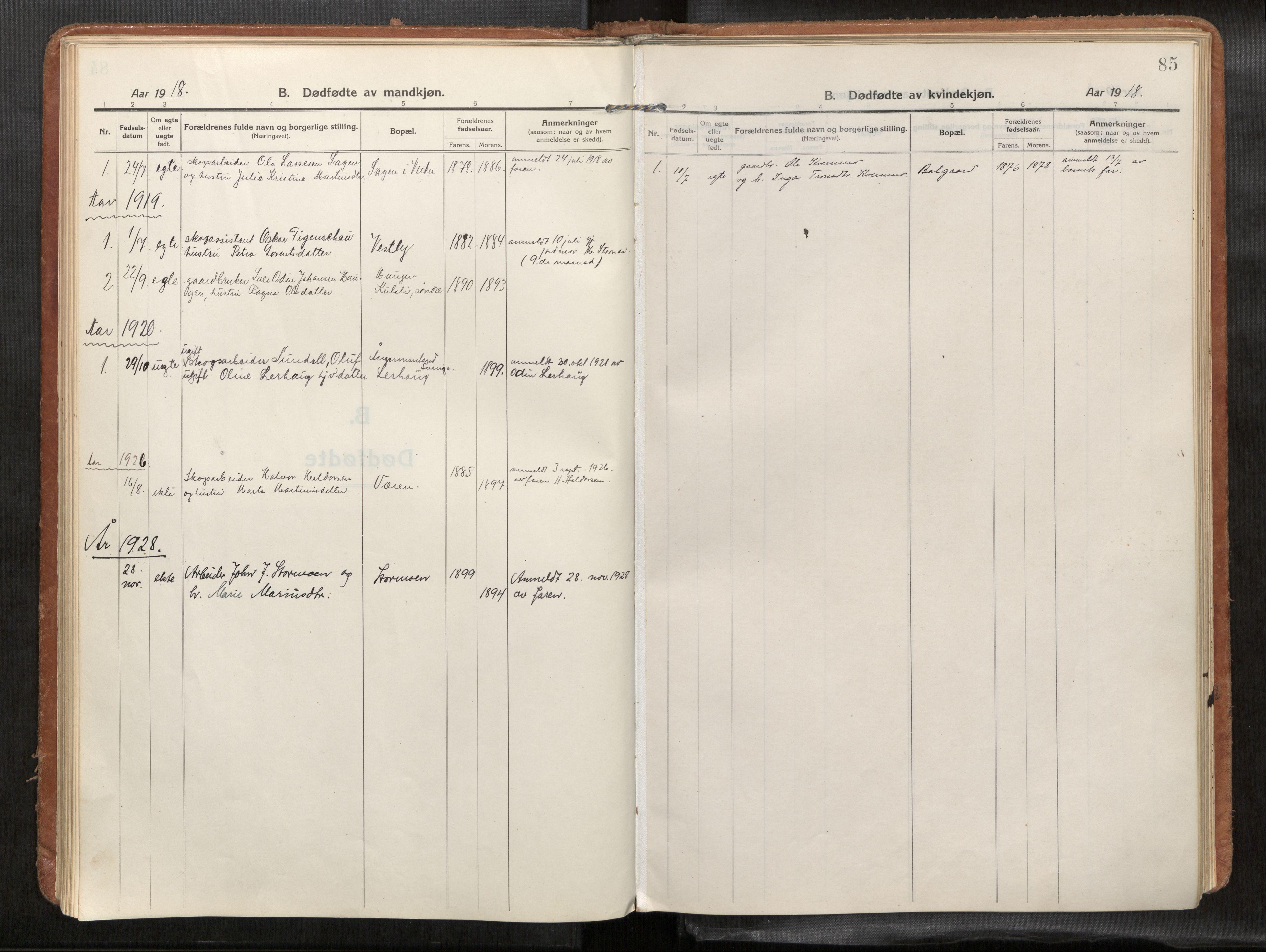 SAT, Verdal sokneprestkontor*, Parish register (official) no. 1, 1916-1928, p. 85