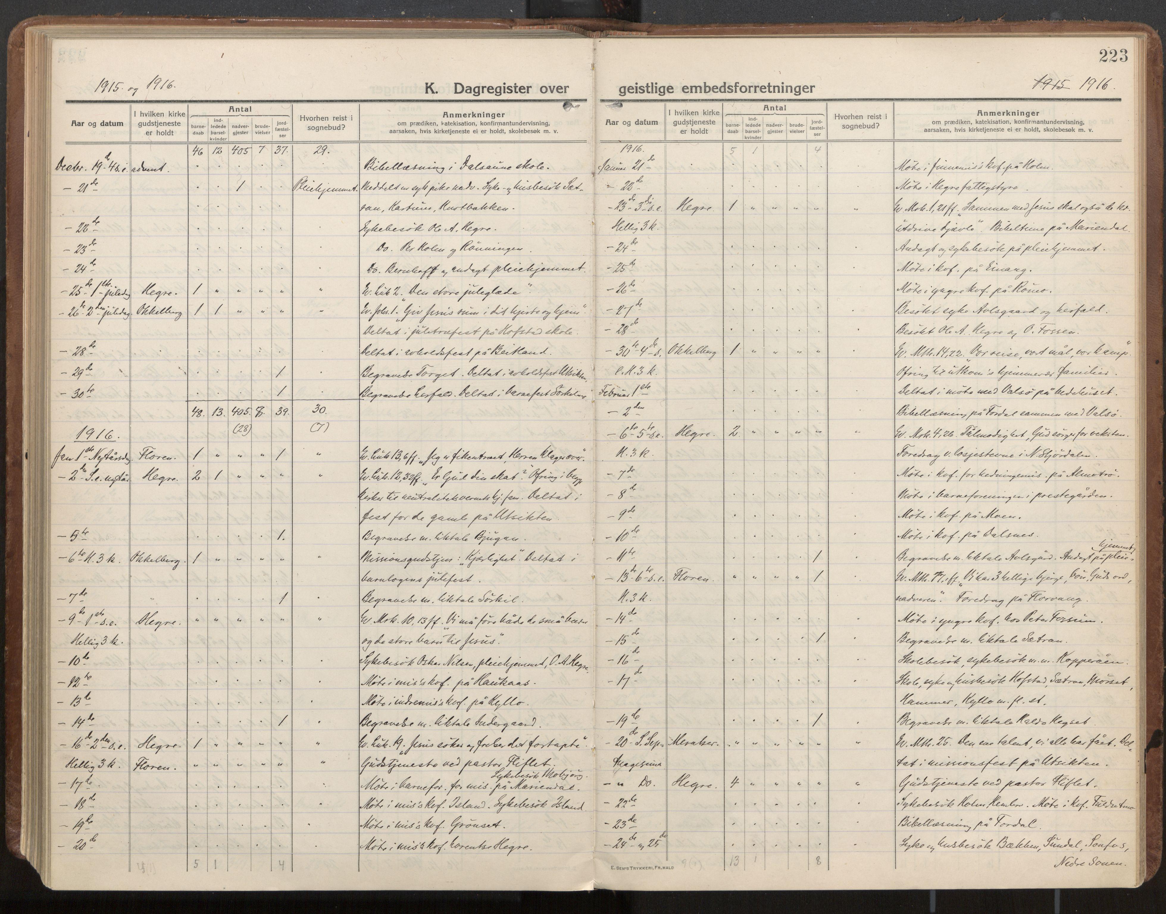 SAT, Ministerialprotokoller, klokkerbøker og fødselsregistre - Nord-Trøndelag, 703/L0037: Parish register (official) no. 703A10, 1915-1932, p. 223
