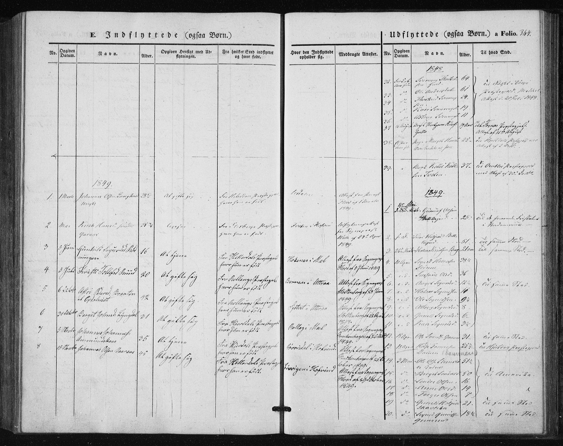 SAKO, Tinn kirkebøker, F/Fa/L0005: Parish register (official) no. I 5, 1844-1856, p. 364