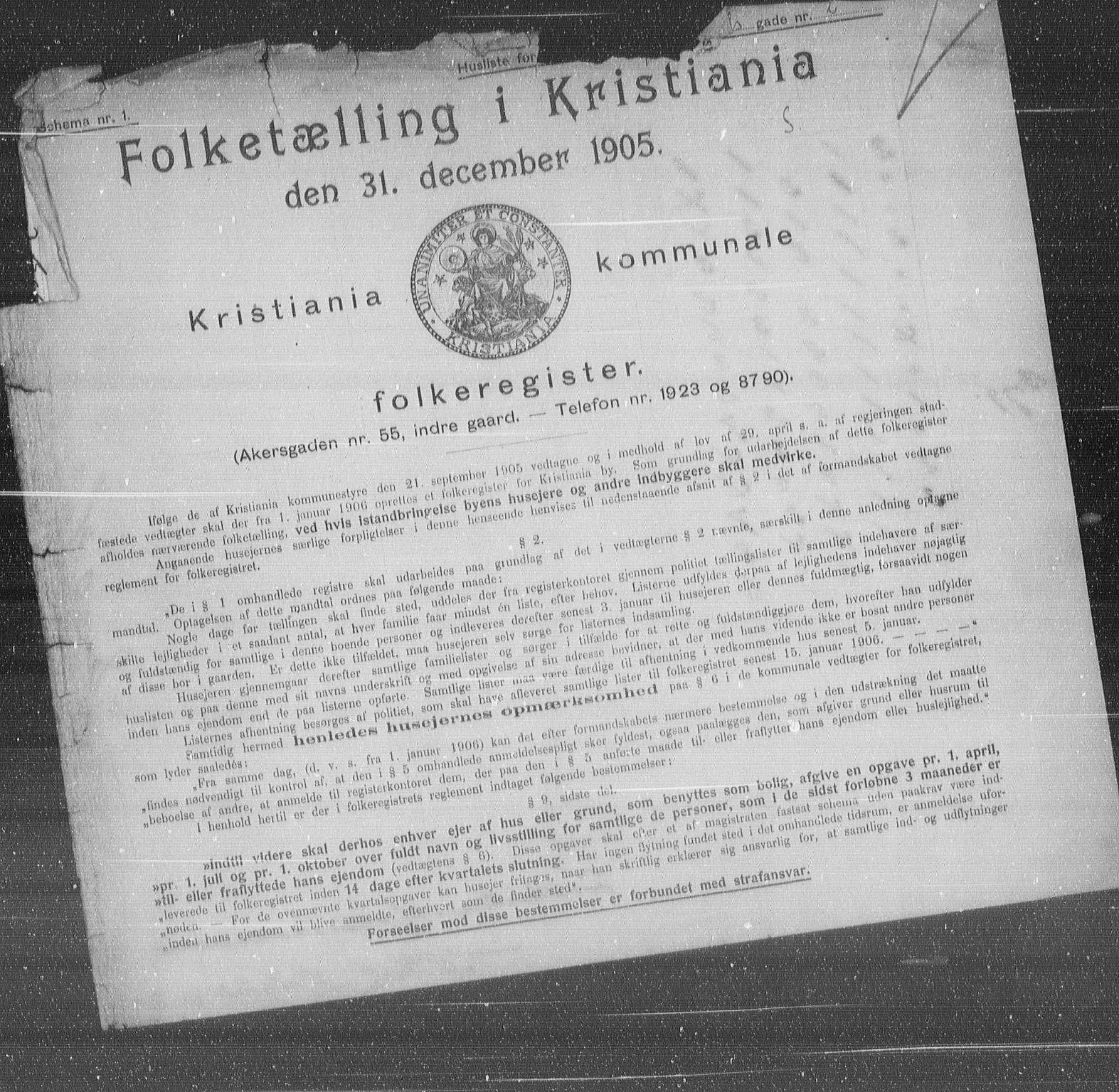 OBA, Municipal Census 1905 for Kristiania, 1905, p. 67860