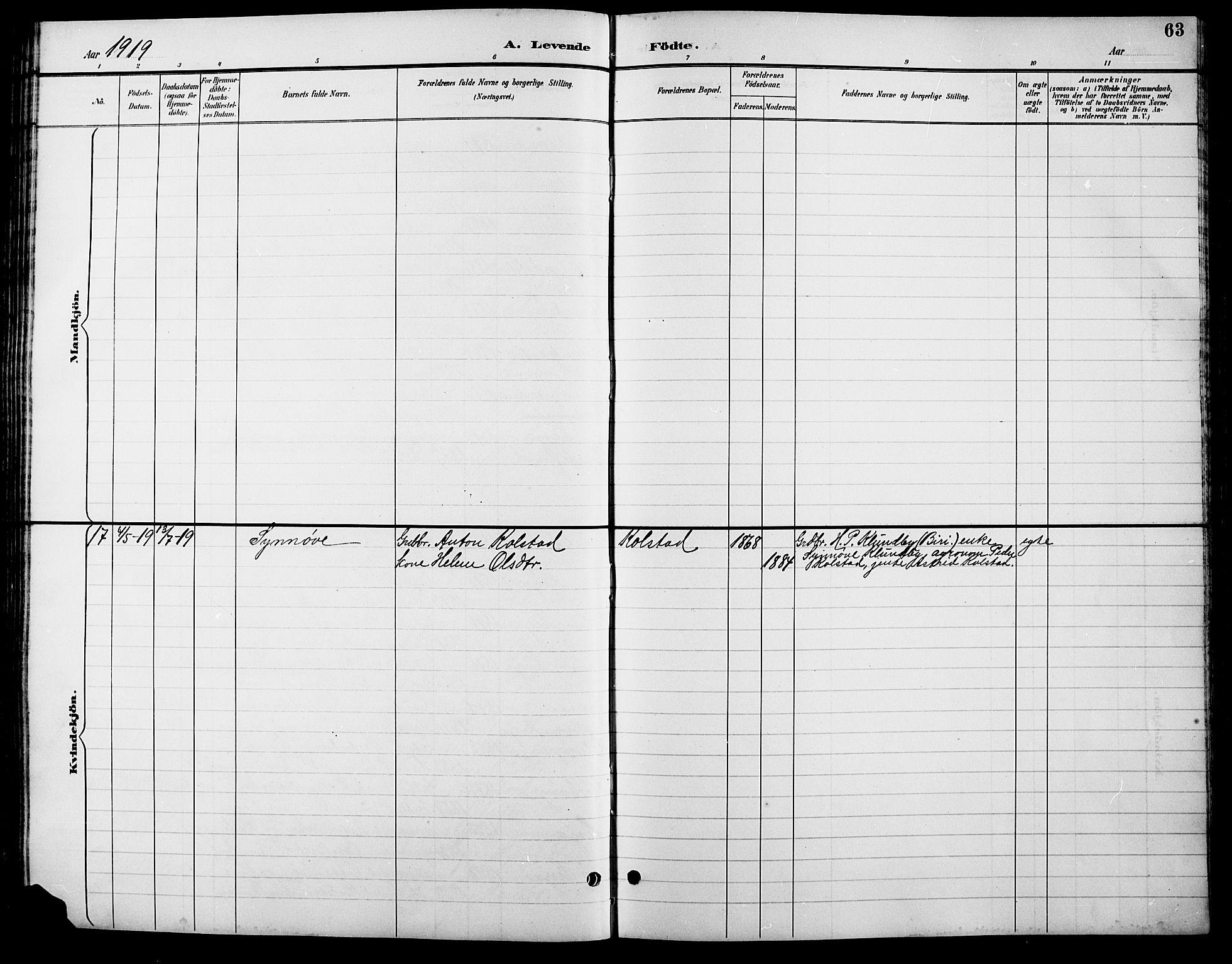 SAH, Lesja prestekontor, Parish register (copy) no. 7, 1895-1919, p. 63