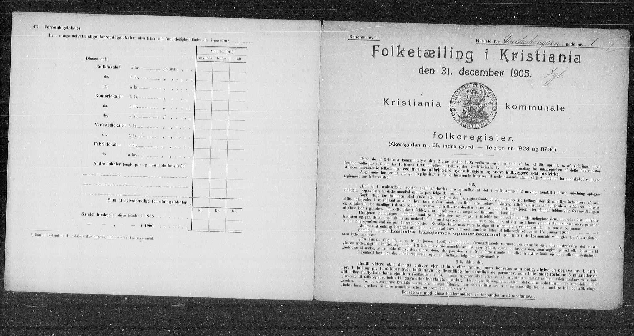 OBA, Municipal Census 1905 for Kristiania, 1905, p. 62873