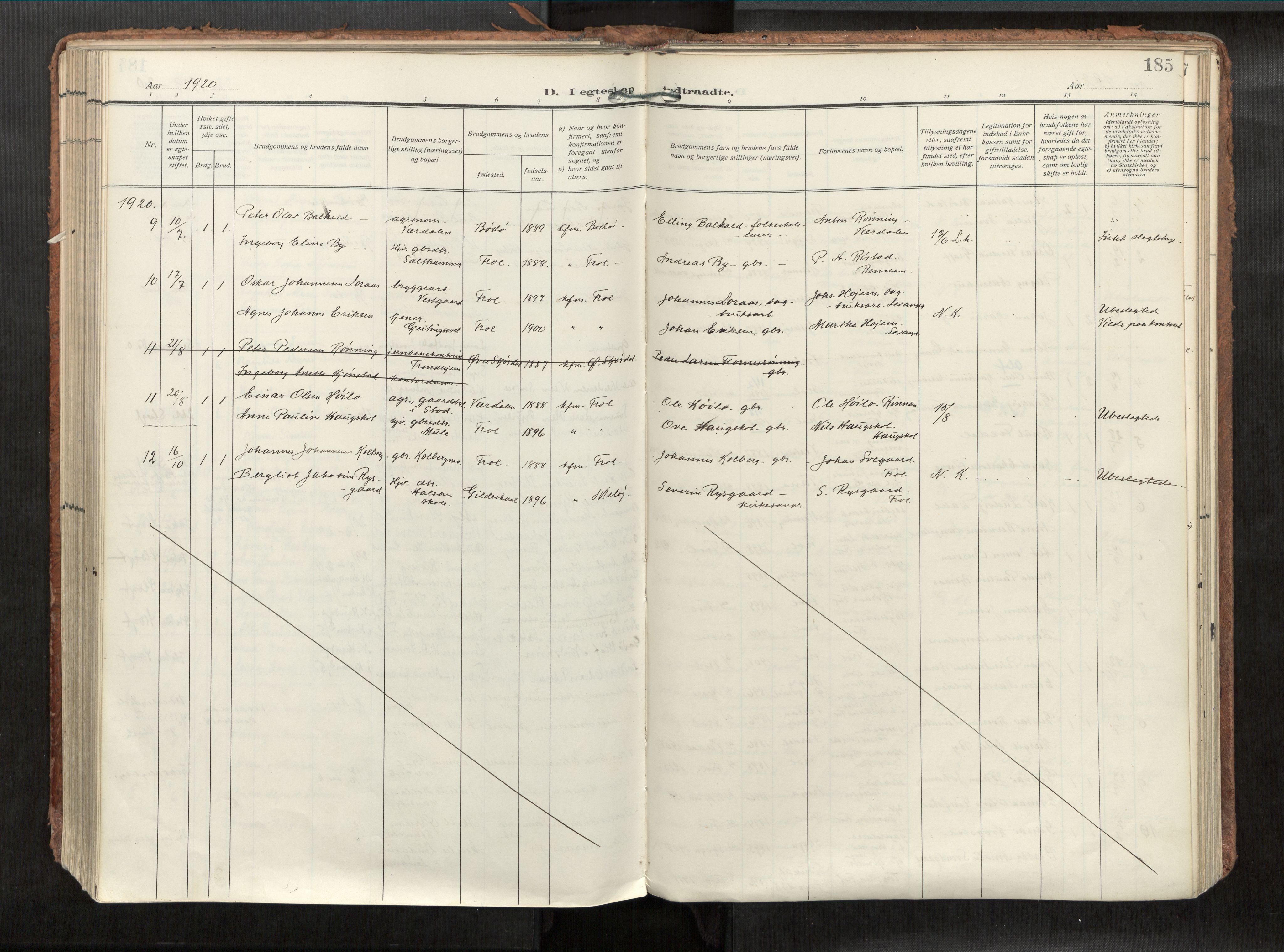 SAT, Levanger sokneprestkontor*, Parish register (official) no. 1, 1912-1935, p. 185