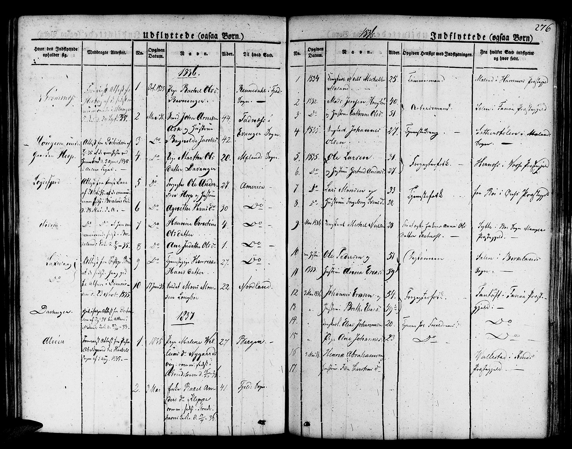 SAB, Askøy Sokneprestembete, H/Ha/Haa/Haaa/L0004: Parish register (official) no. A 4, 1825-1845, p. 276