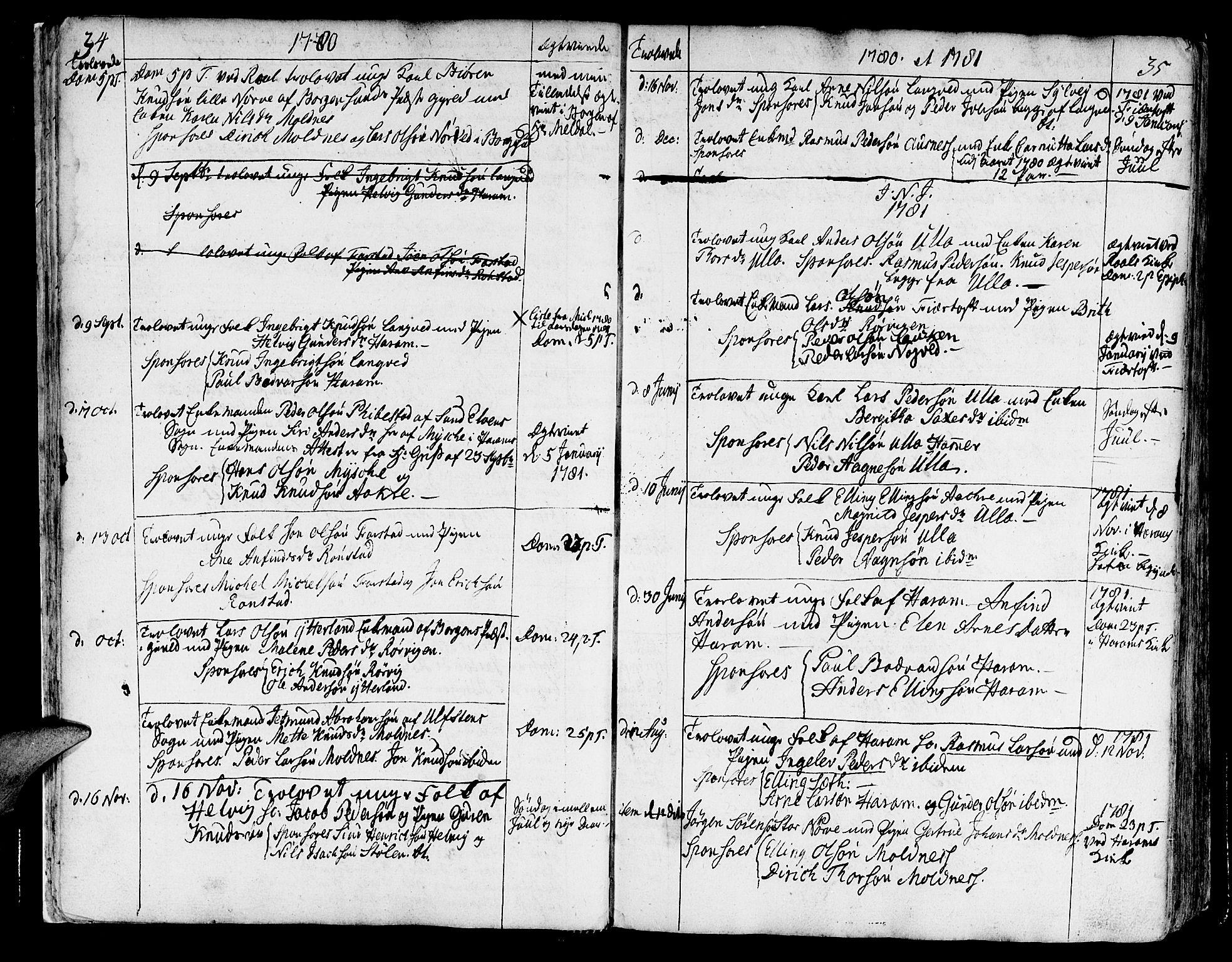 SAT, Ministerialprotokoller, klokkerbøker og fødselsregistre - Møre og Romsdal, 536/L0493: Parish register (official) no. 536A02, 1739-1802, p. 34-35