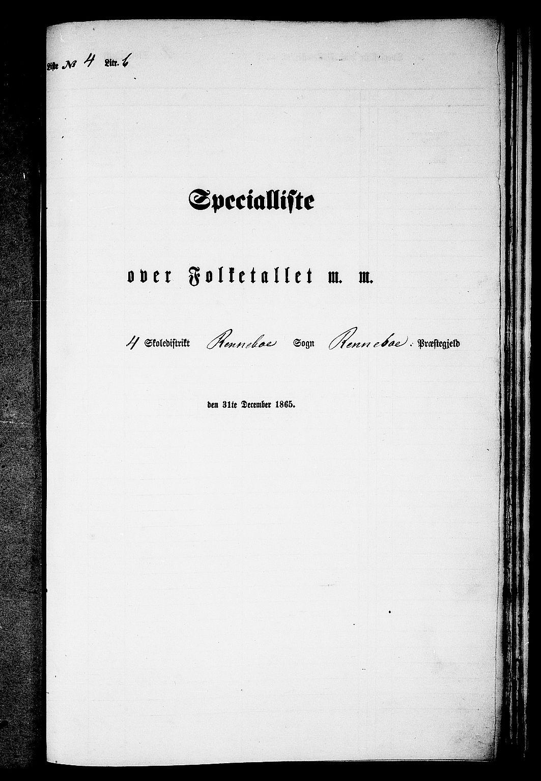 RA, 1865 census for Rennebu, 1865, p. 74