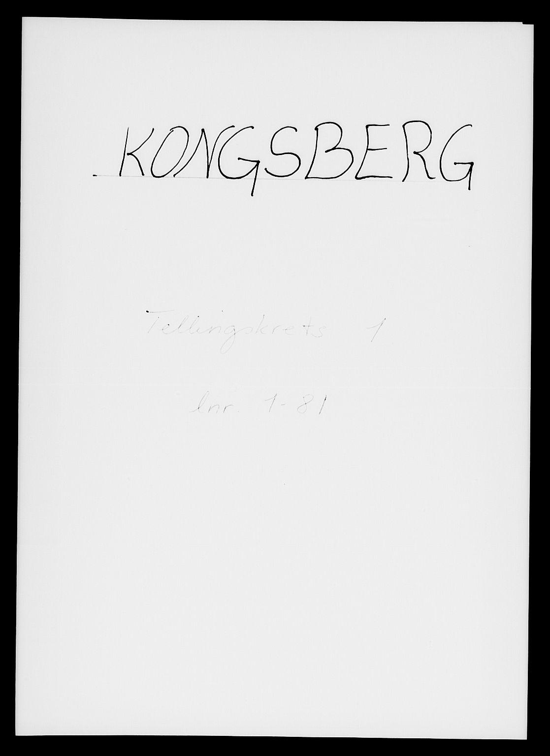 SAKO, 1885 census for 0604 Kongsberg, 1885, p. 1