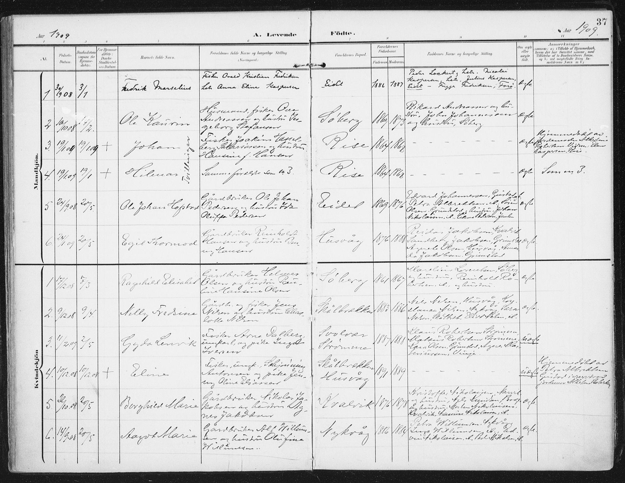 SAT, Ministerialprotokoller, klokkerbøker og fødselsregistre - Nordland, 892/L1321: Parish register (official) no. 892A02, 1902-1918, p. 37
