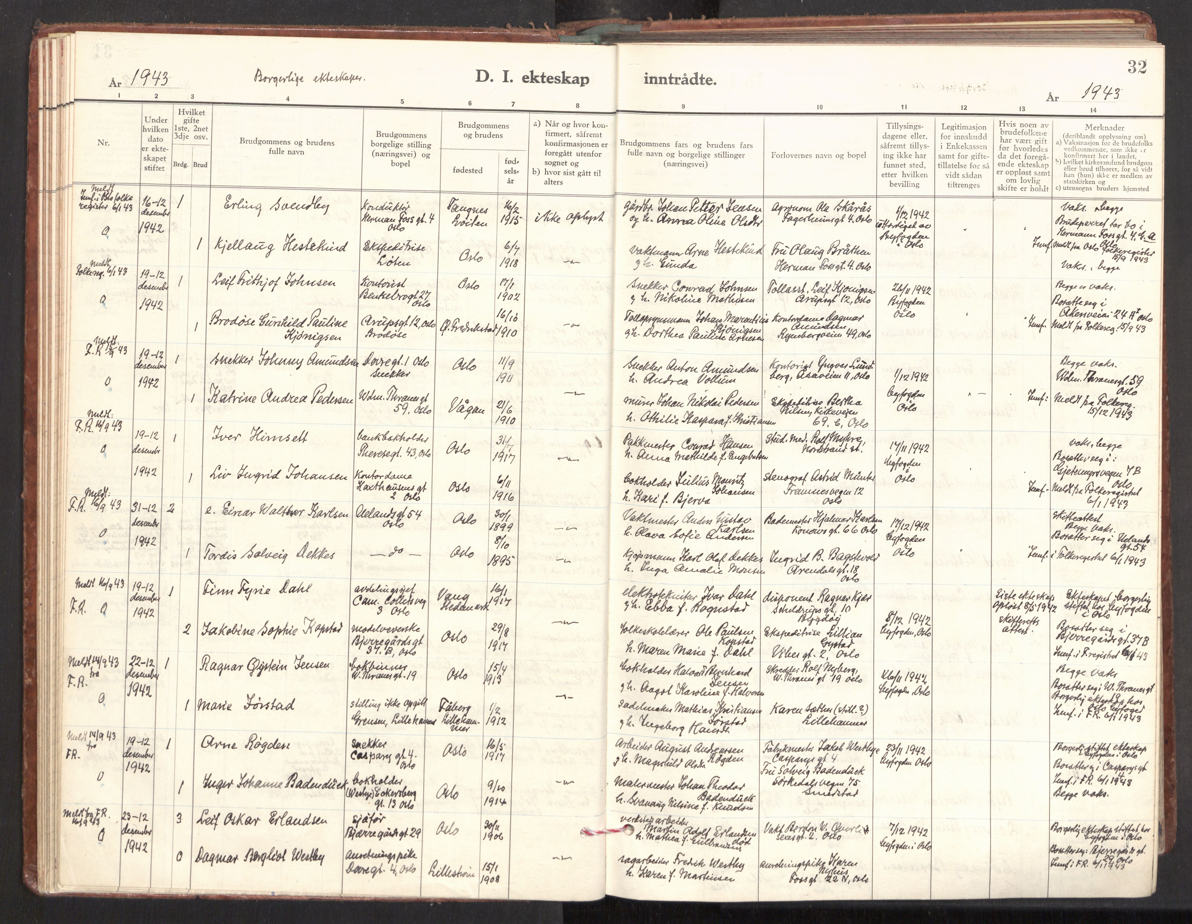 SAO, Gamle Aker prestekontor Kirkebøker, F/L0022: Parish register (official) no. 22, 1941-1952, p. 32