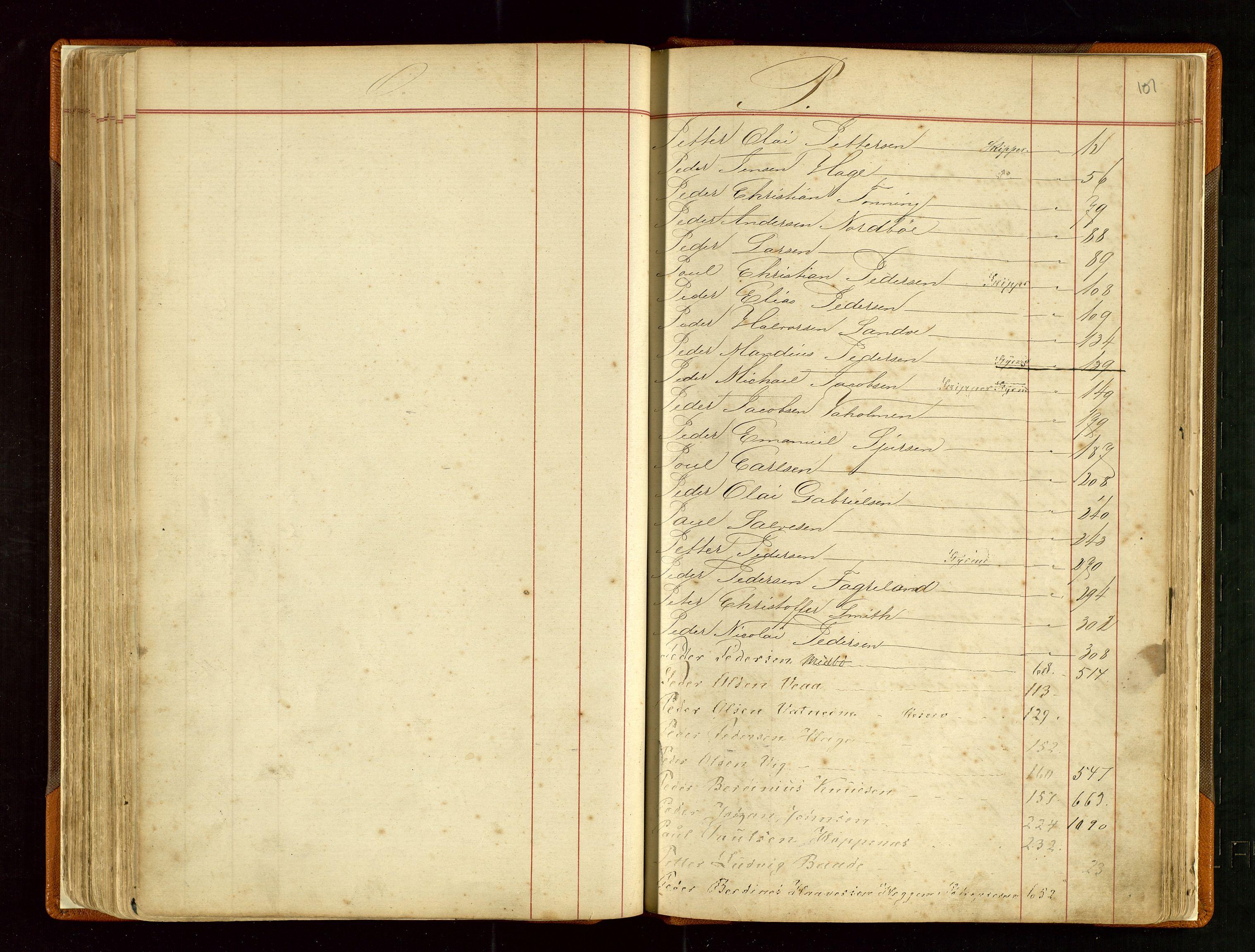 SAST, Haugesund sjømannskontor, F/Fb/Fba/L0003: Navneregister med henvisning til rullenummer (fornavn) Haugesund krets, 1860-1948, p. 101
