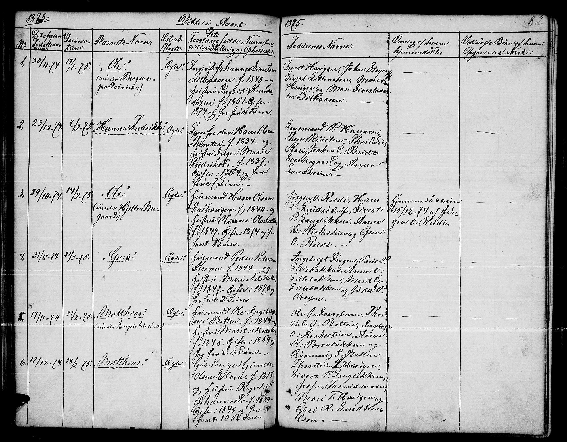 SAH, Dovre prestekontor, Parish register (copy) no. 1, 1862-1880, p. 82