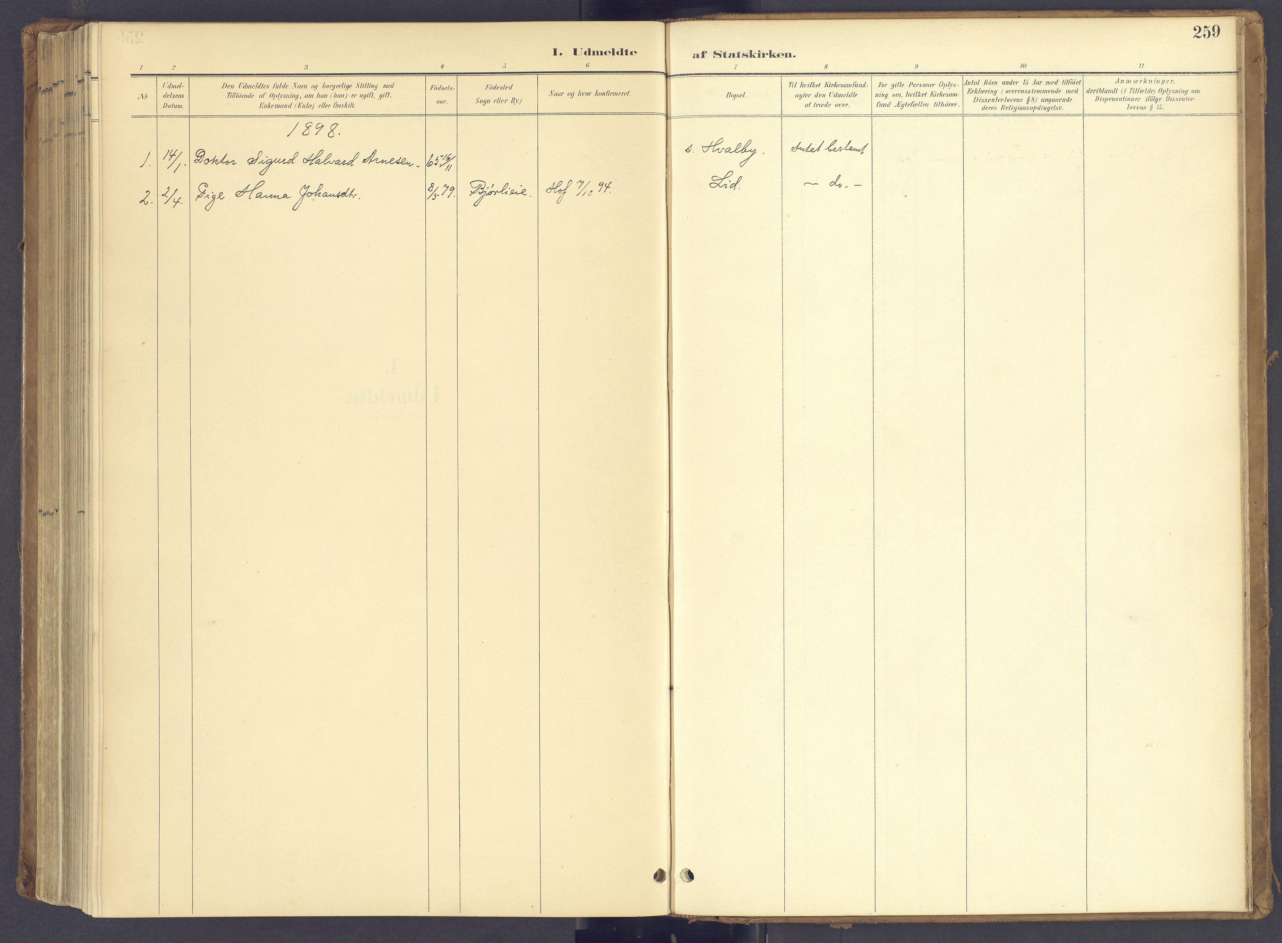 SAH, Søndre Land prestekontor, K/L0006: Parish register (official) no. 6, 1895-1904, p. 259