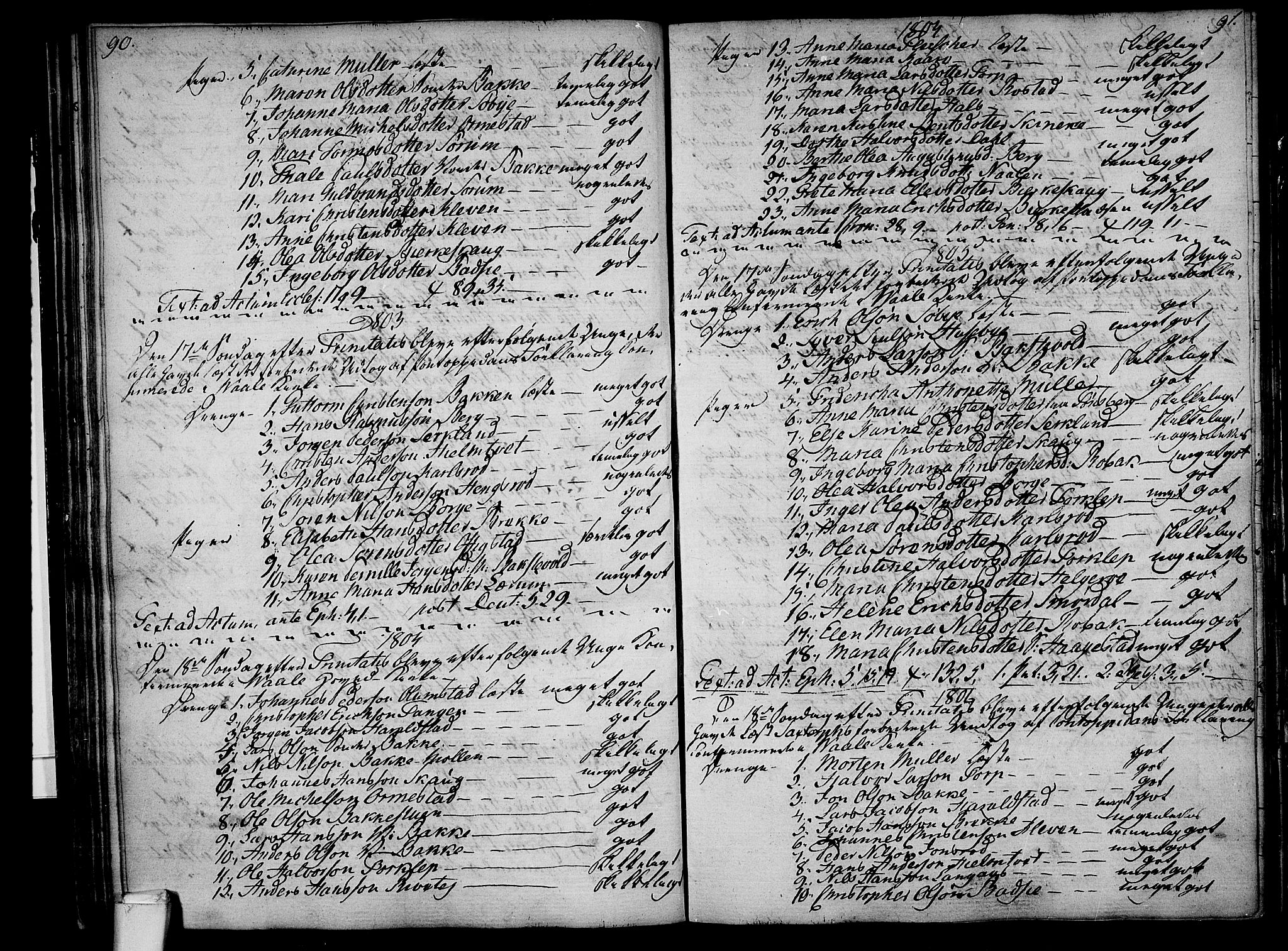 SAKO, Våle kirkebøker, F/Fa/L0005: Parish register (official) no. I 5, 1773-1808, p. 90-91