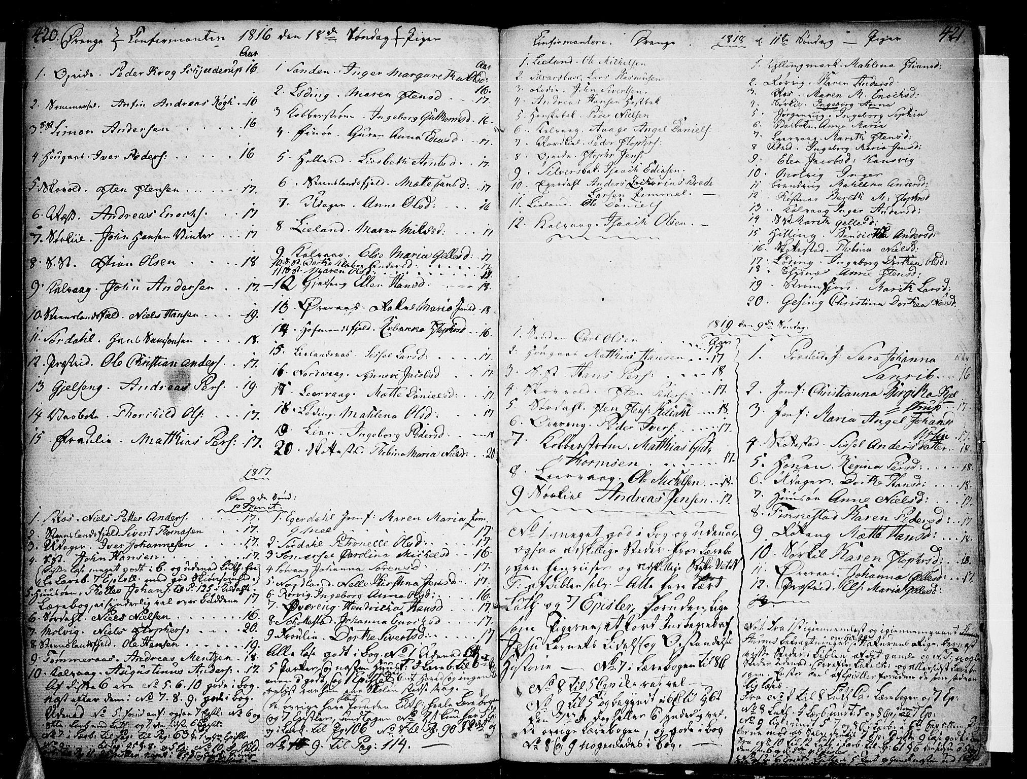 SAT, Ministerialprotokoller, klokkerbøker og fødselsregistre - Nordland, 859/L0841: Parish register (official) no. 859A01, 1766-1821, p. 420-421