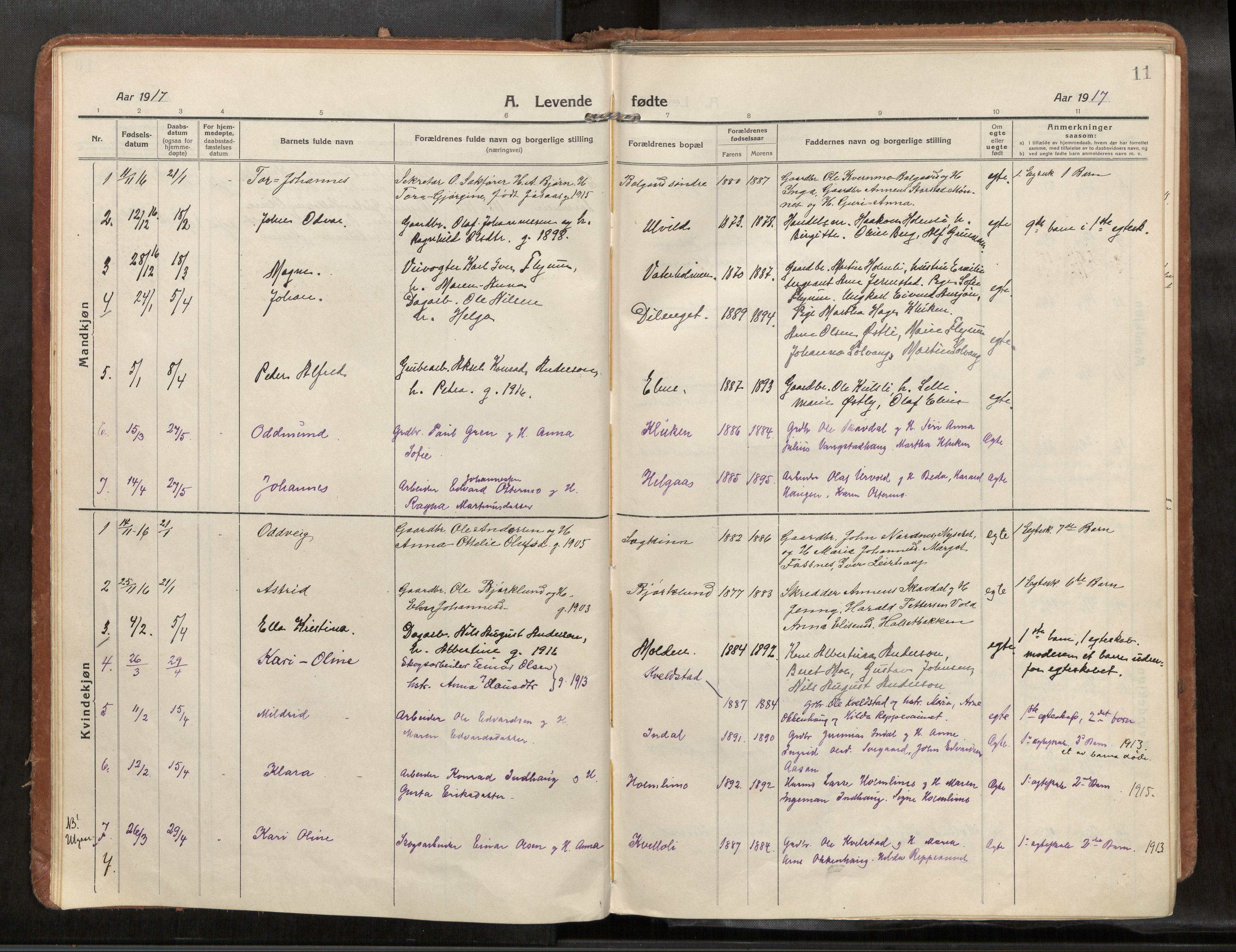 SAT, Verdal sokneprestkontor*, Parish register (official) no. 1, 1916-1928, p. 11