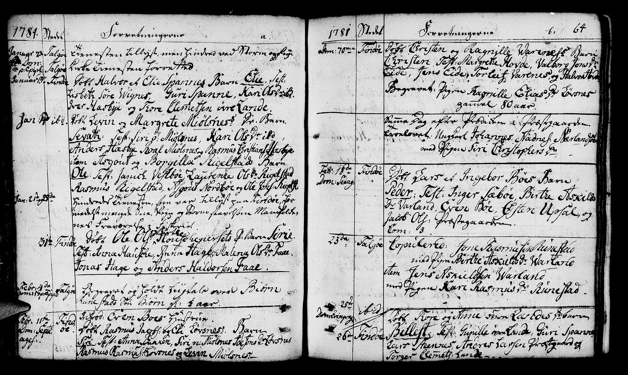 SAST, Finnøy sokneprestkontor, H/Ha/Haa/L0005: Parish register (official) no. A 5, 1773-1816, p. 64
