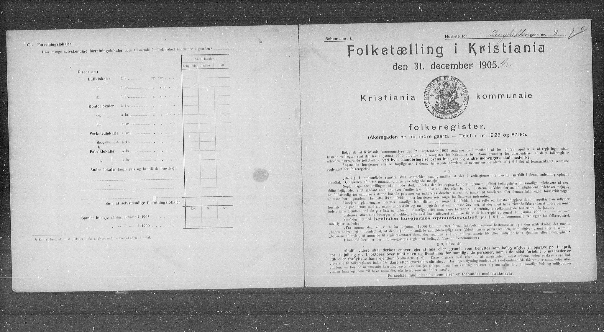 OBA, Municipal Census 1905 for Kristiania, 1905, p. 29562