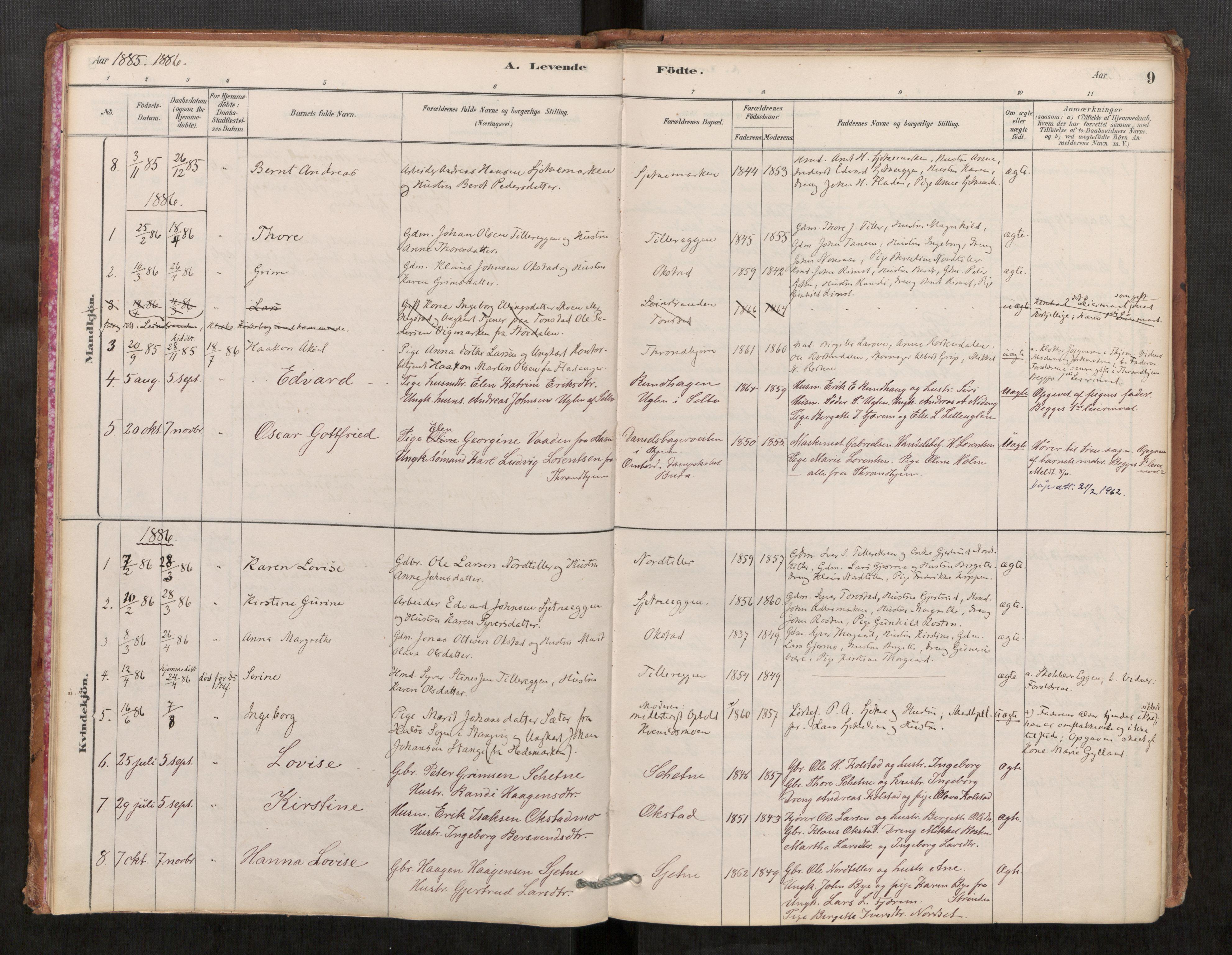SAT, Klæbu sokneprestkontor, Parish register (official) no. 1, 1880-1900, p. 9