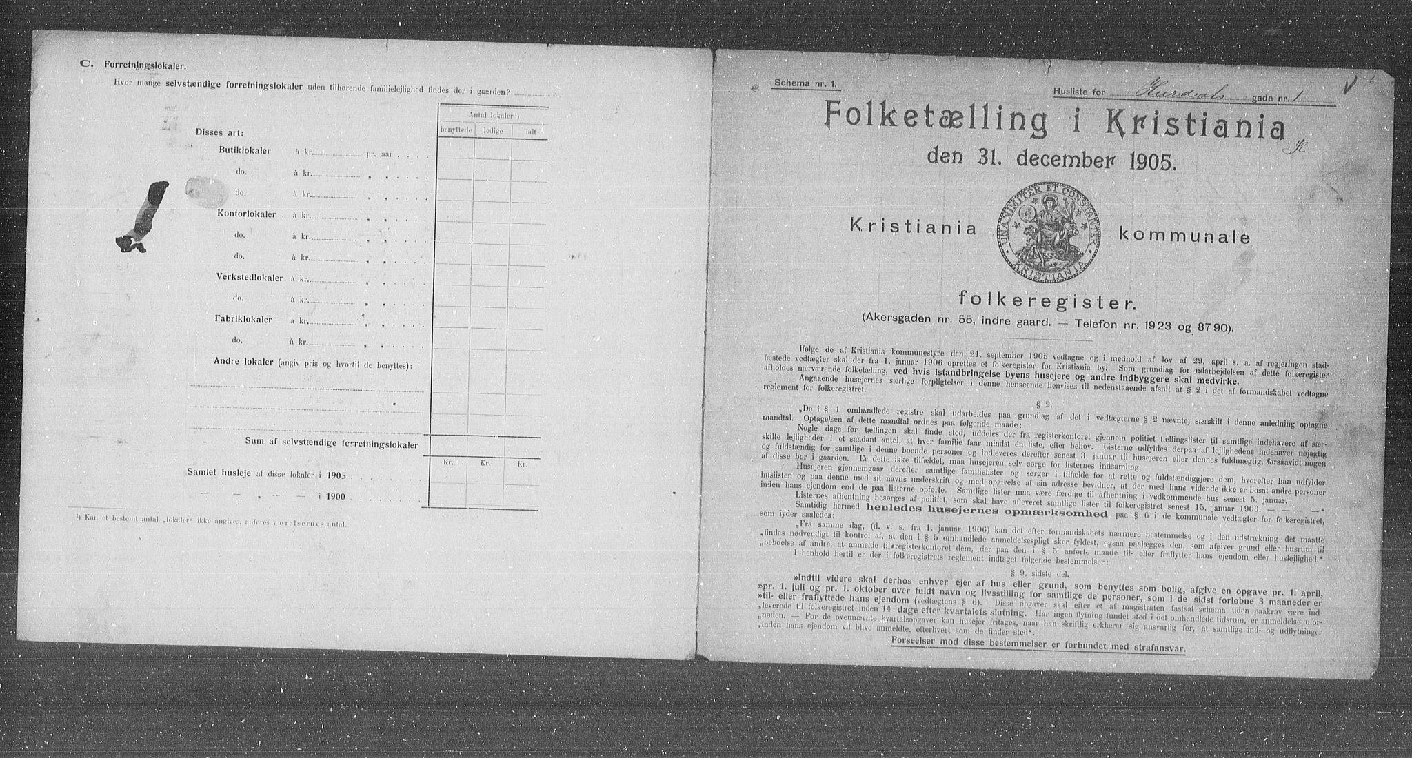 OBA, Municipal Census 1905 for Kristiania, 1905, p. 21919